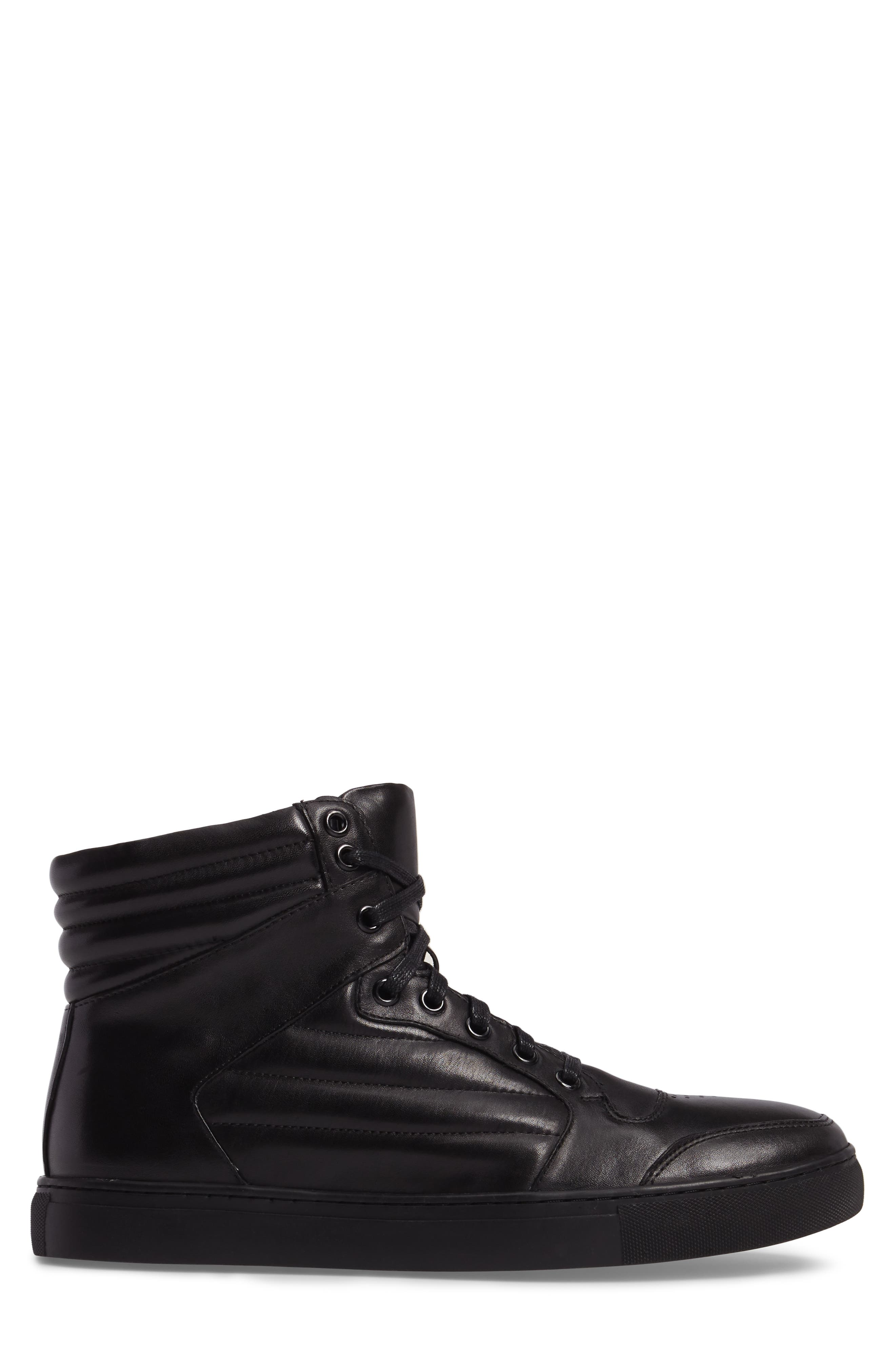 Vacdes High Top Sneaker,                             Alternate thumbnail 3, color,                             Black Leather