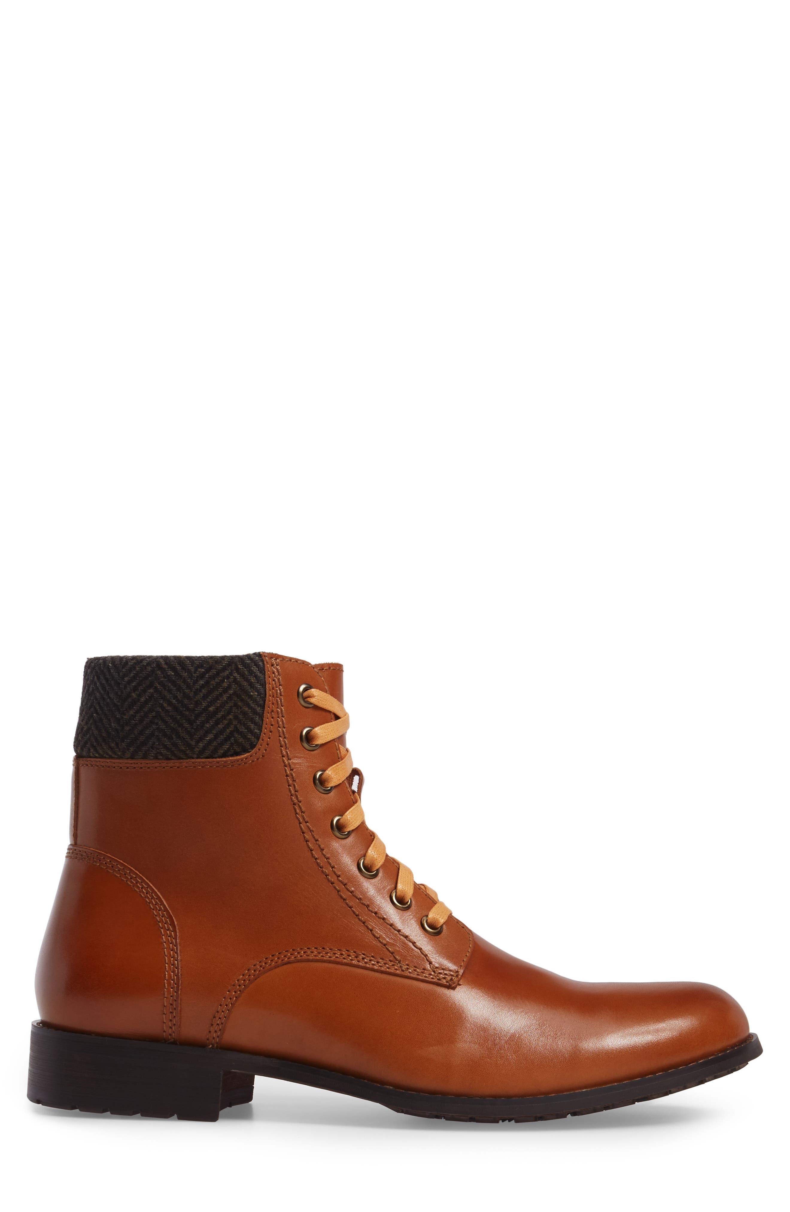 Saar Plain Toe Boot,                             Alternate thumbnail 3, color,                             Cognac Leather