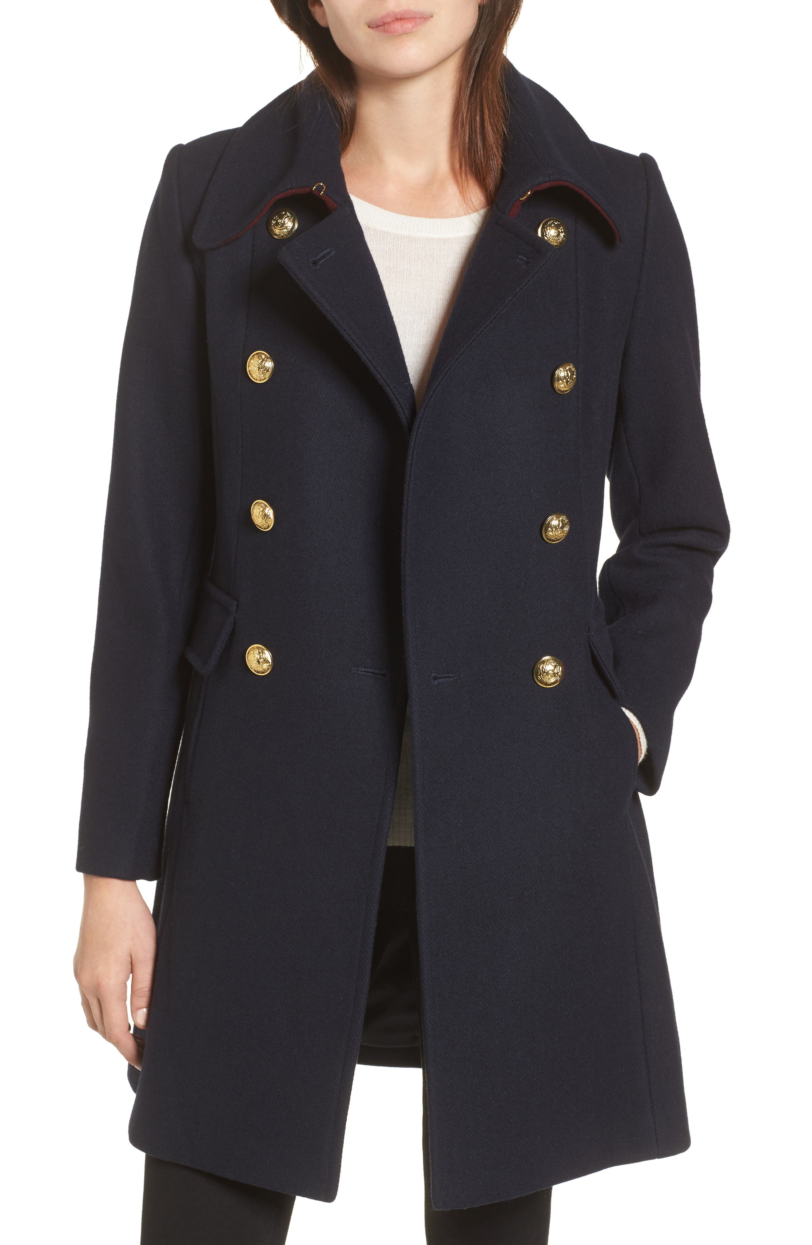 Caitlin Double Breasted Coat,                         Main,                         color, Navy
