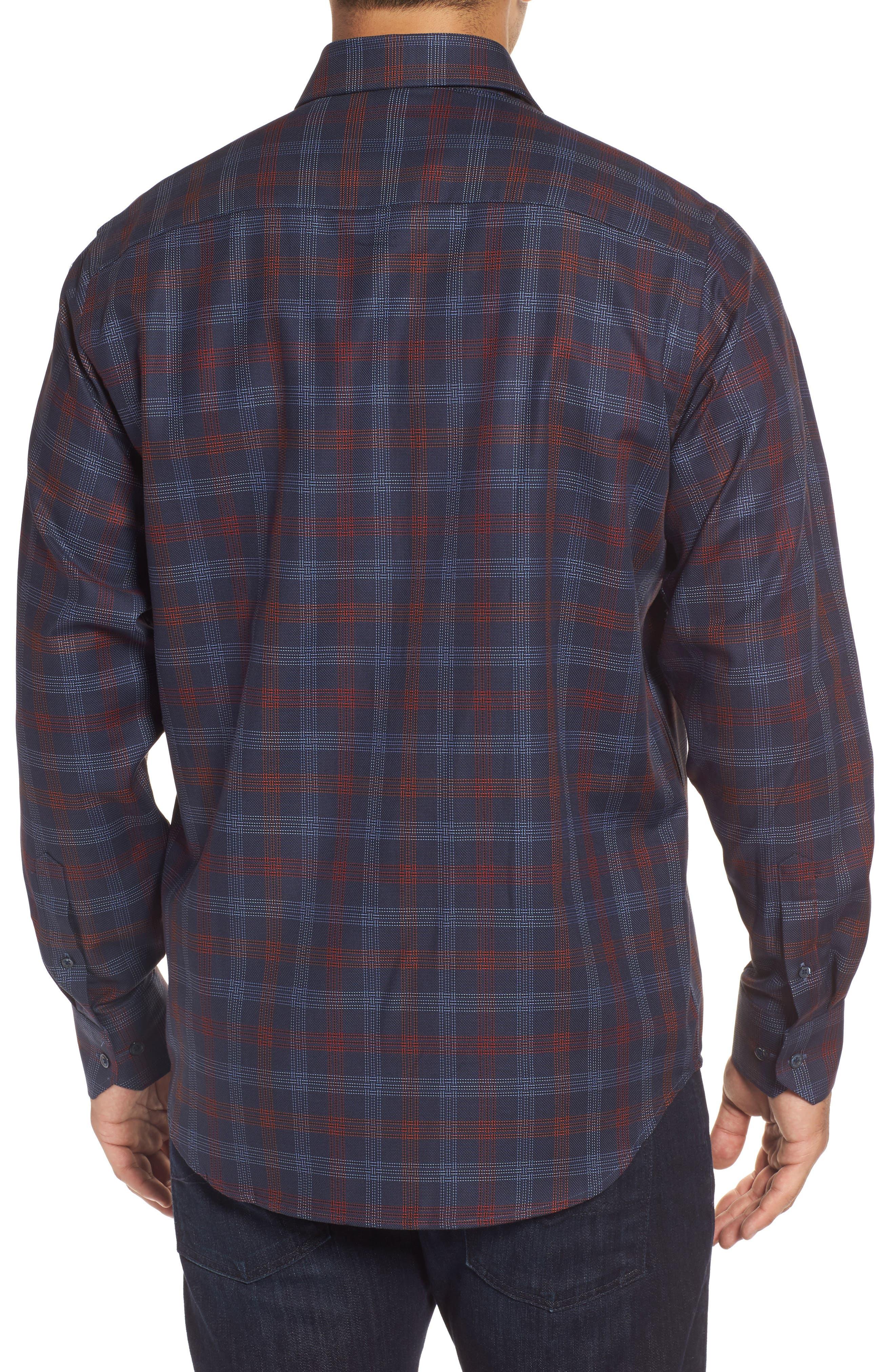 Alternate Image 2  - Bugatchi Classic Fit Pinstripe Check Sport Shirt