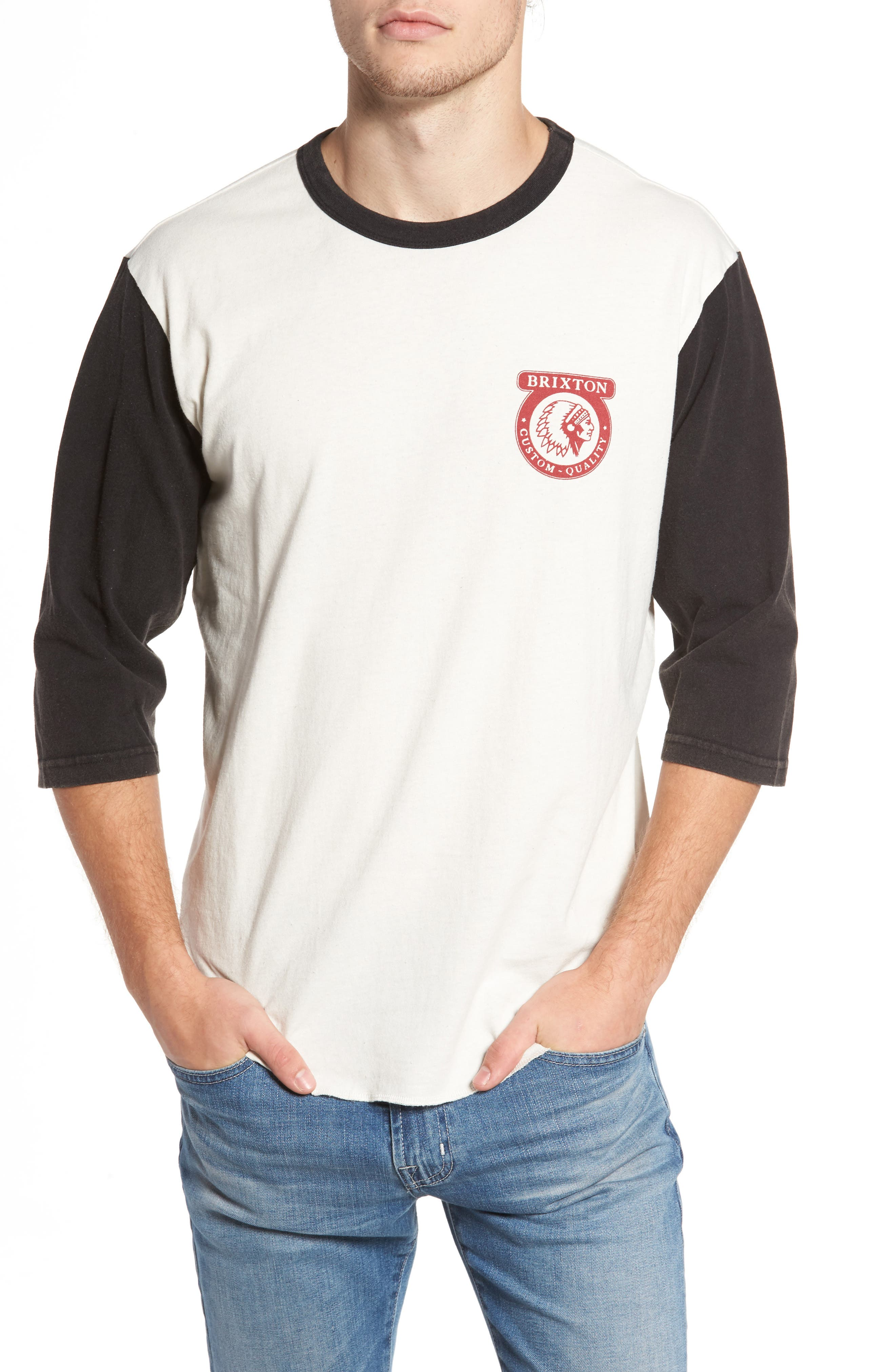 Washed Baseball T-Shirt,                         Main,                         color, Off White/ Black