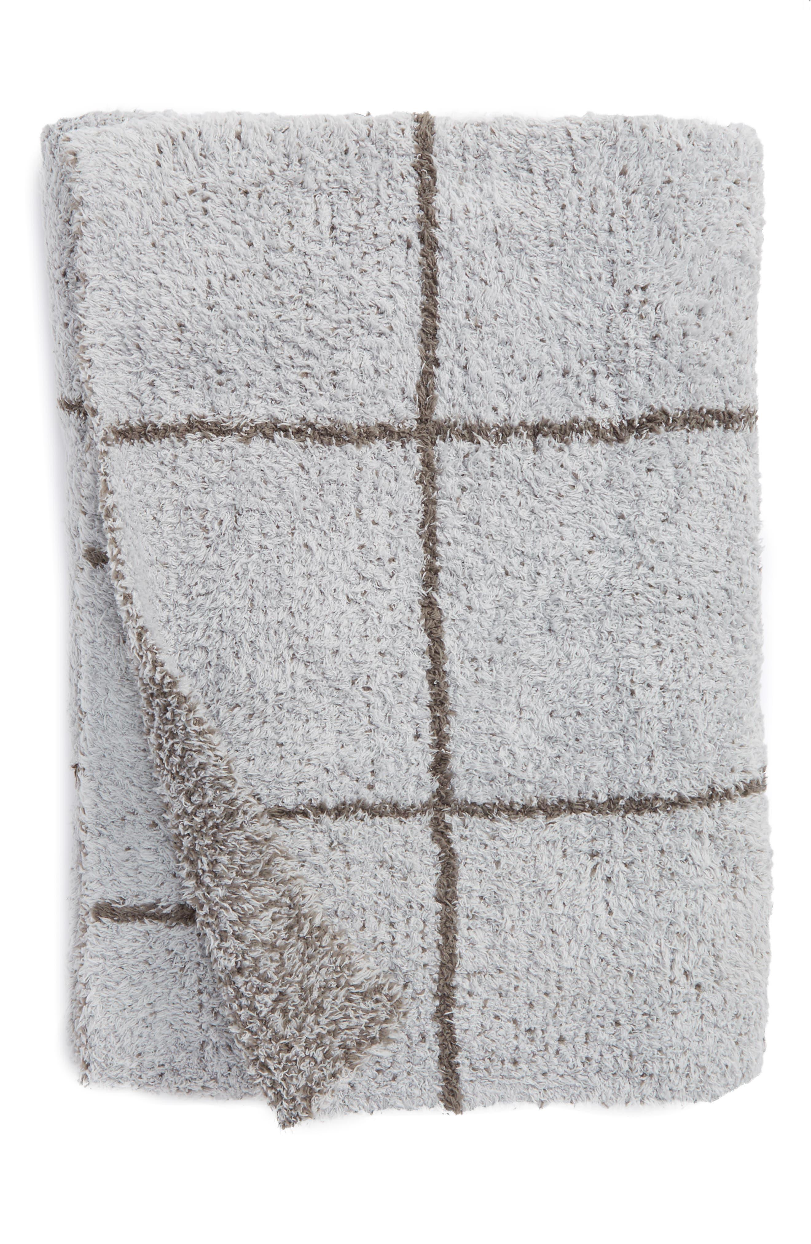 Cozychic<sup>®</sup> Windowpane Plaid Throw Blanket,                             Main thumbnail 1, color,                             Ocean/ Charcoal