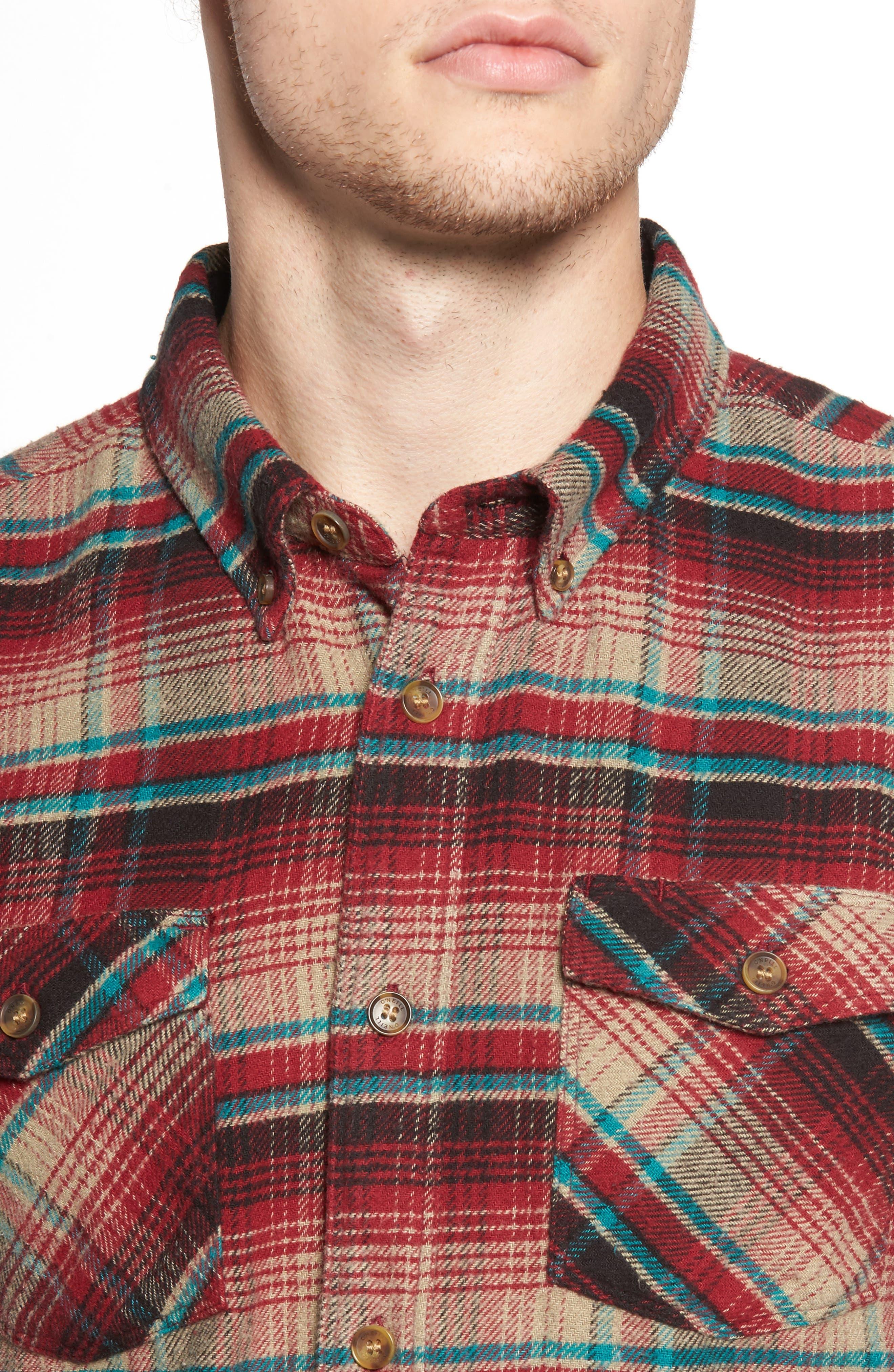Butler Plaid Flannel Sport Shirt,                             Alternate thumbnail 4, color,                             Crimson