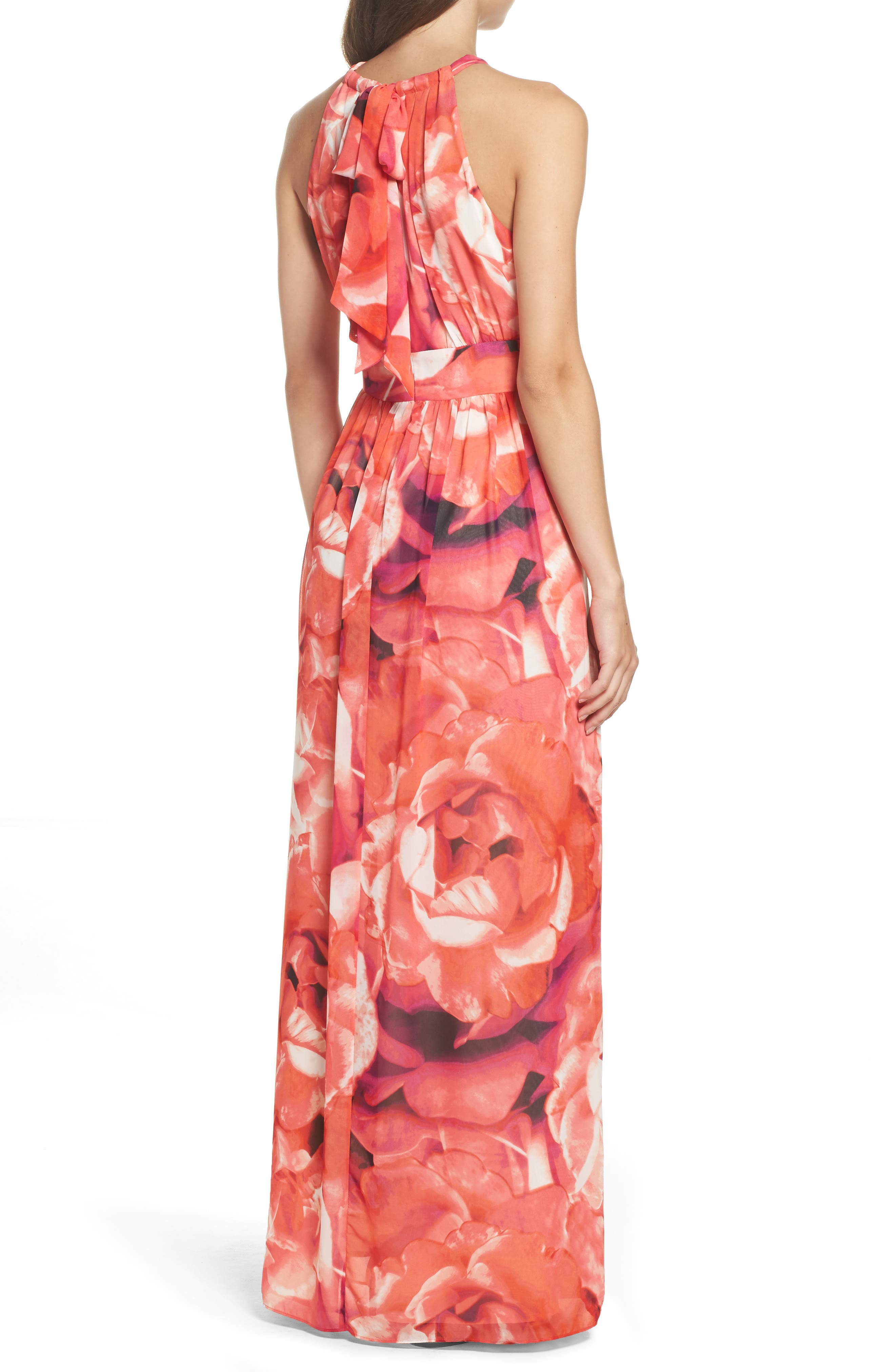 Print Chiffon Fit & Flare Maxi Dress,                             Alternate thumbnail 2, color,                             Pink