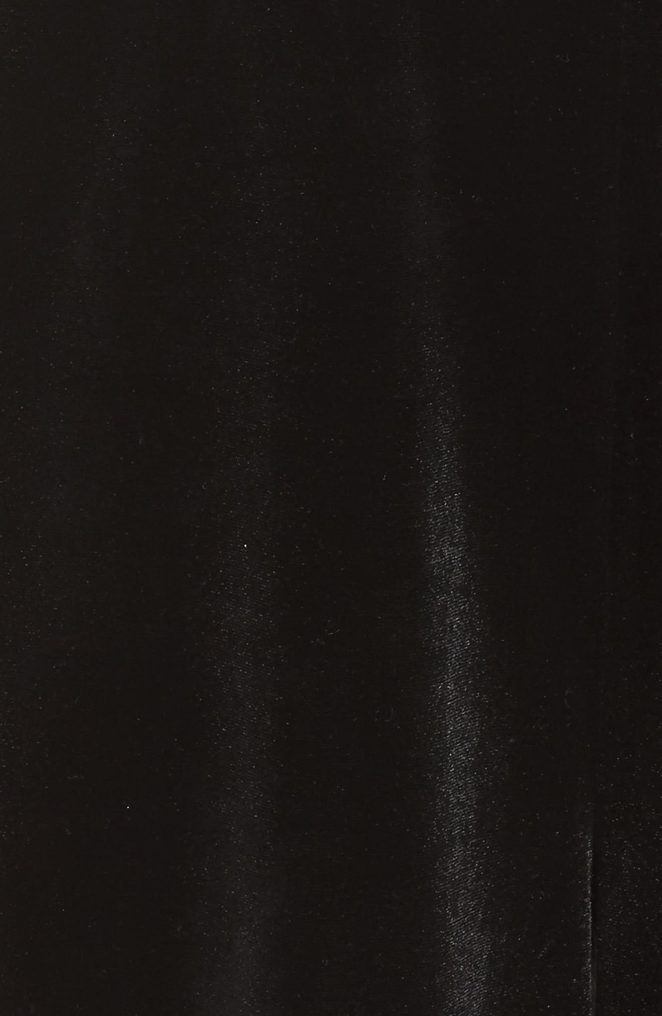 Stretch Velvet Culotte Jumpsuit,                             Alternate thumbnail 5, color,                             Black