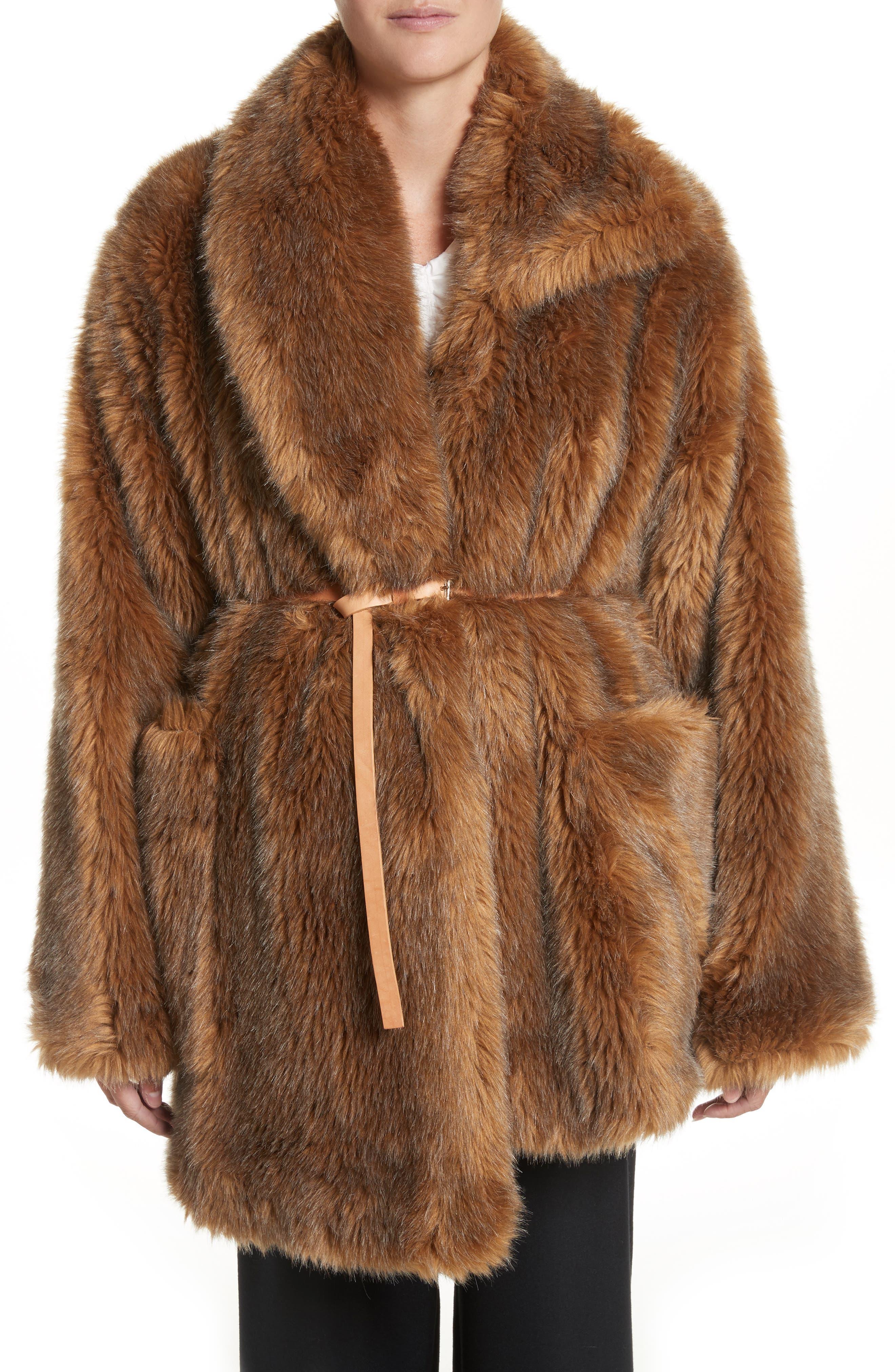 Asymmetric Faux Fur Coat,                         Main,                         color, Mink