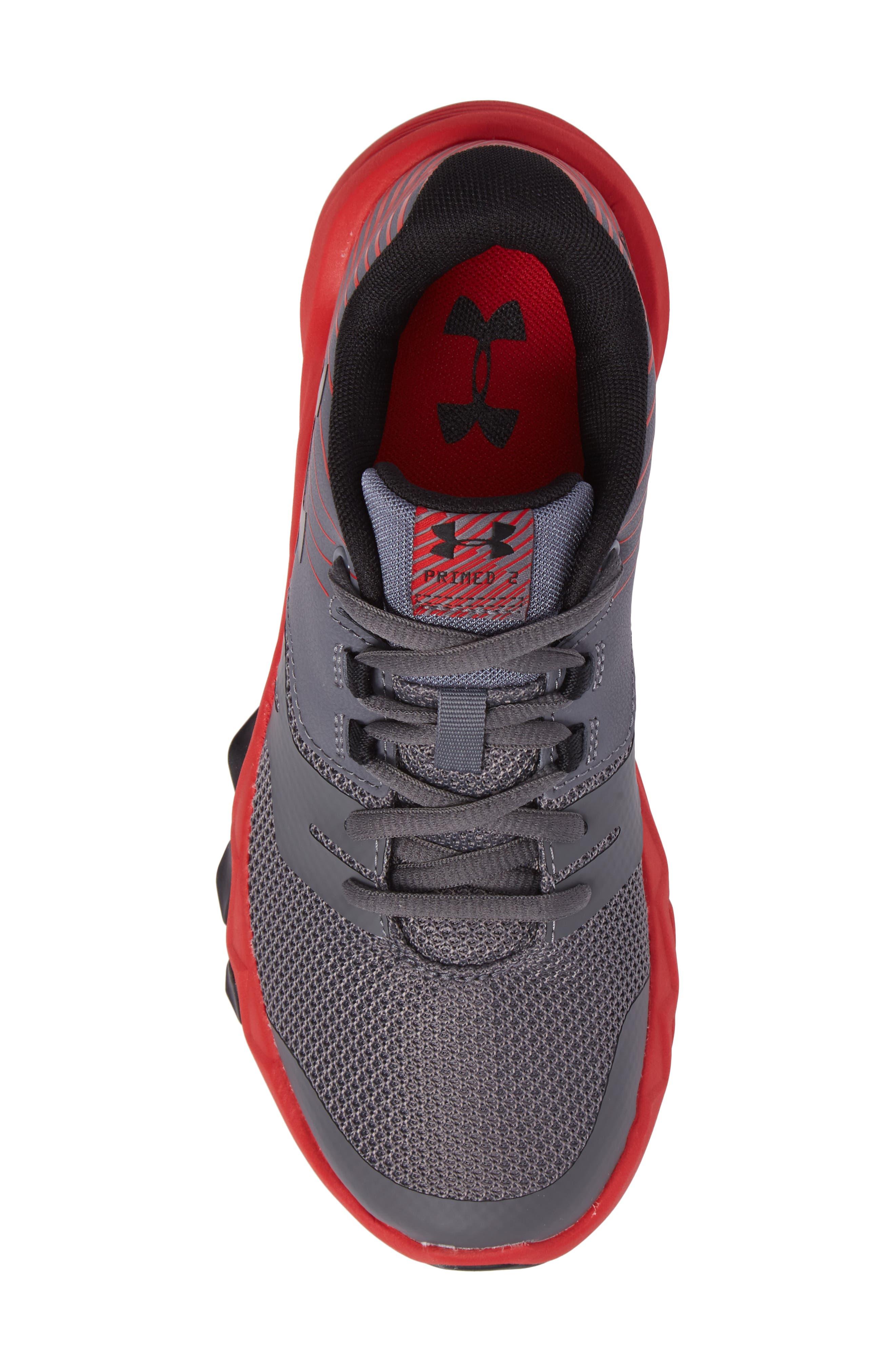 Grade School Primed 2 Running Shoe,                             Alternate thumbnail 5, color,                             Graphite/ Red/ Black