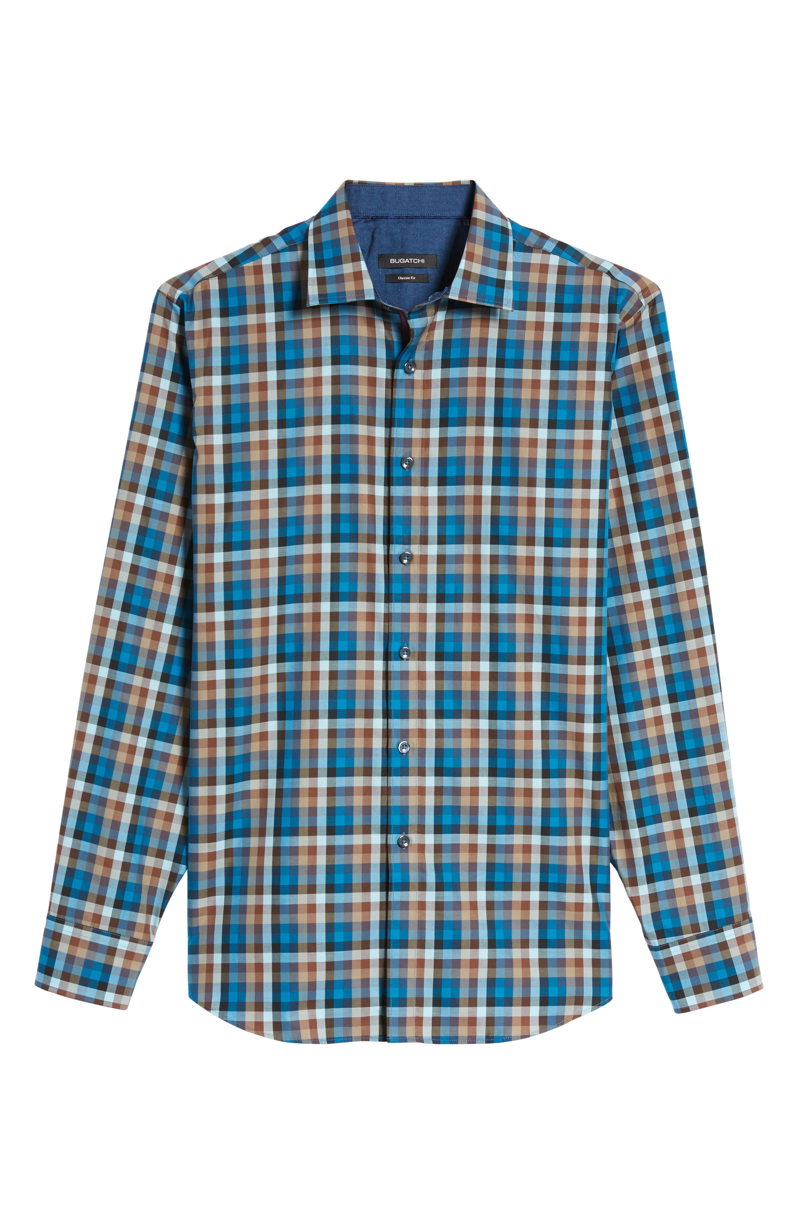 Classic Fit Twill Check Sport Shirt,                             Alternate thumbnail 6, color,                             Mocha
