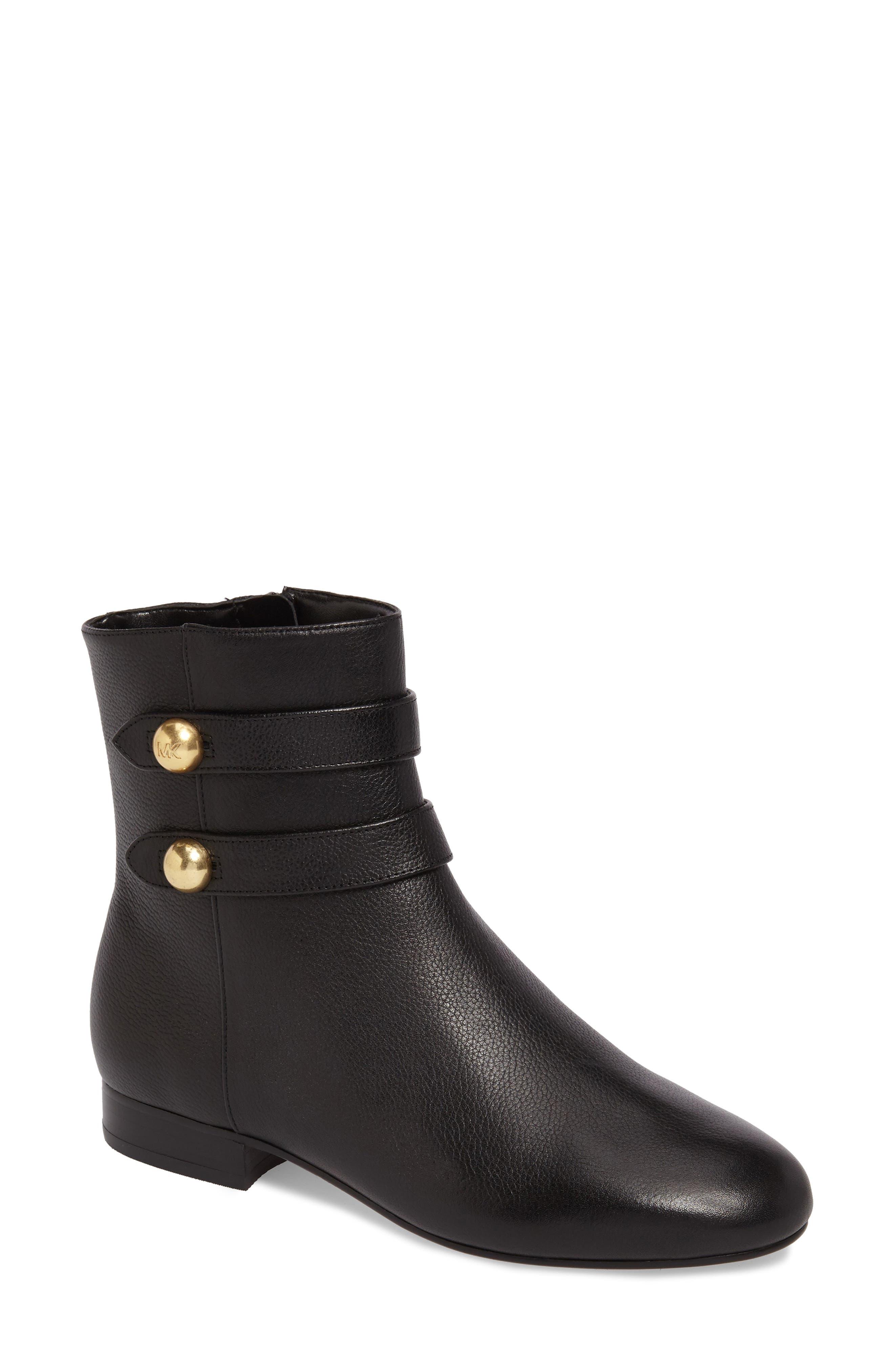 Maisie Bootie,                             Main thumbnail 1, color,                             Black Tumbled Leather
