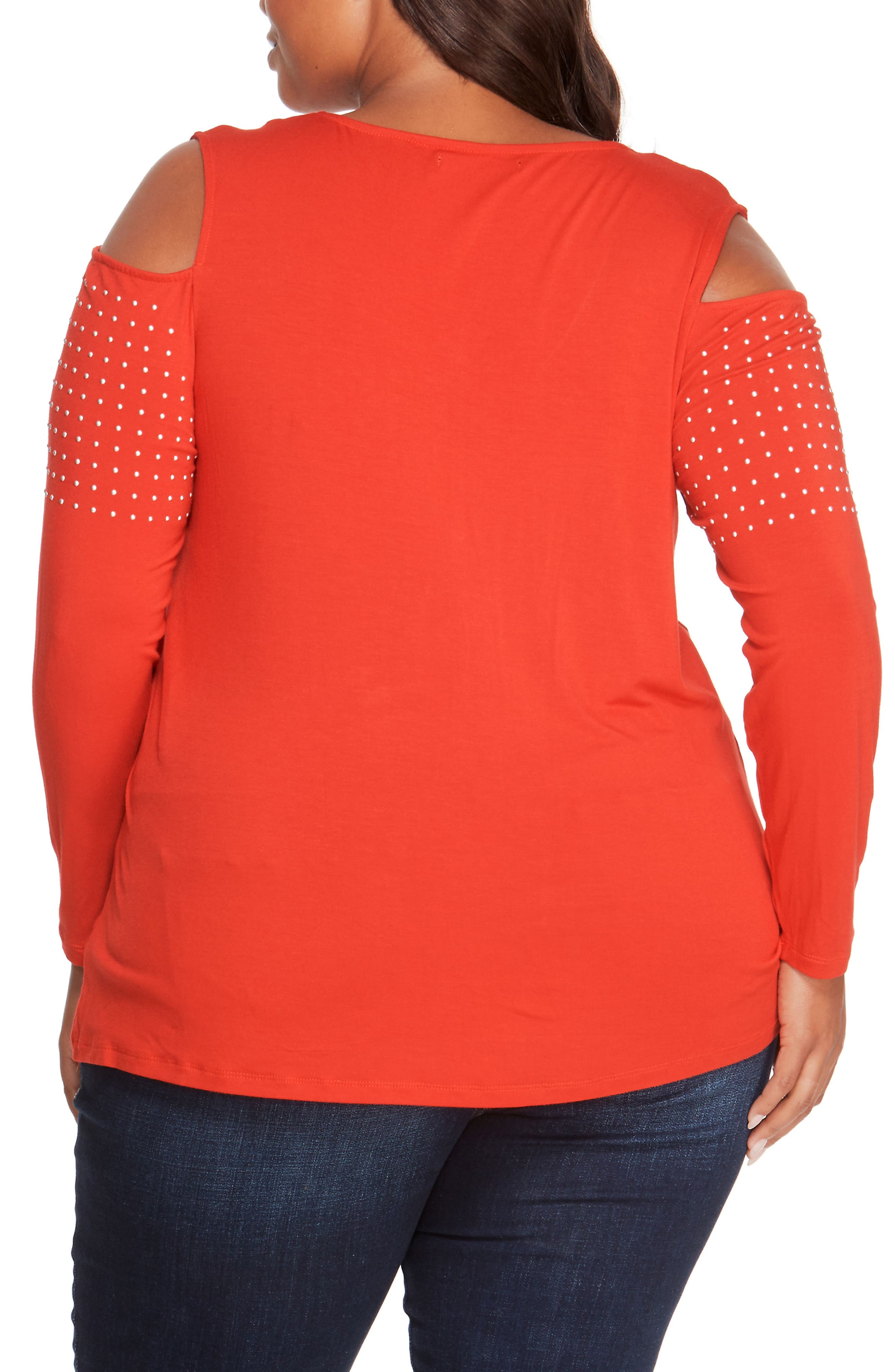 Studded Cold Shoulder Top,                             Alternate thumbnail 2, color,                             Haute Red