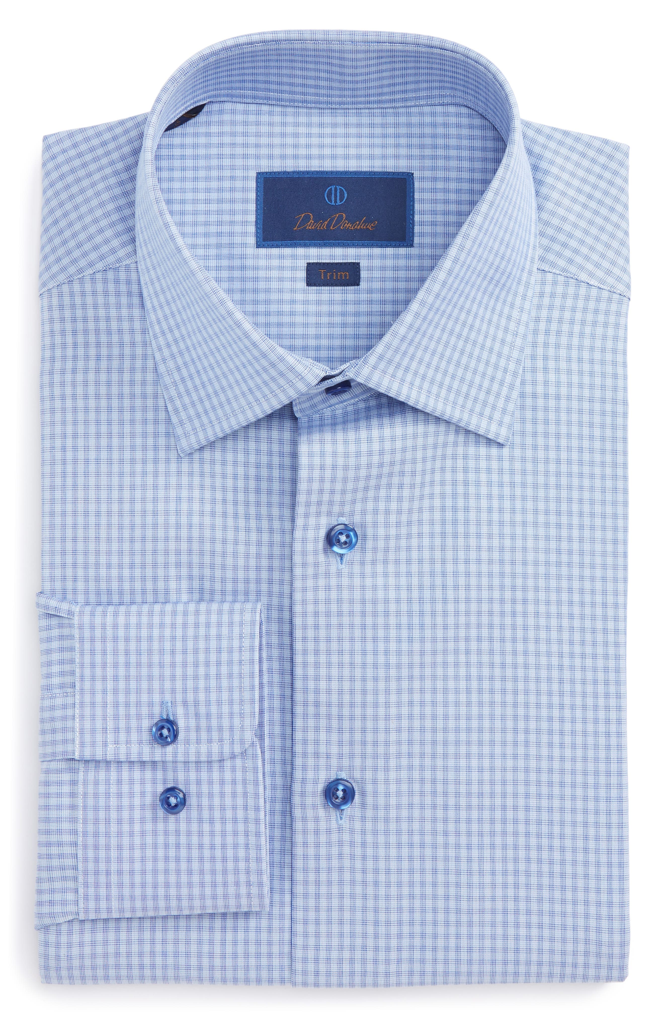 Alternate Image 1 Selected - David Donahue Trim Fit Check Dress Shirt