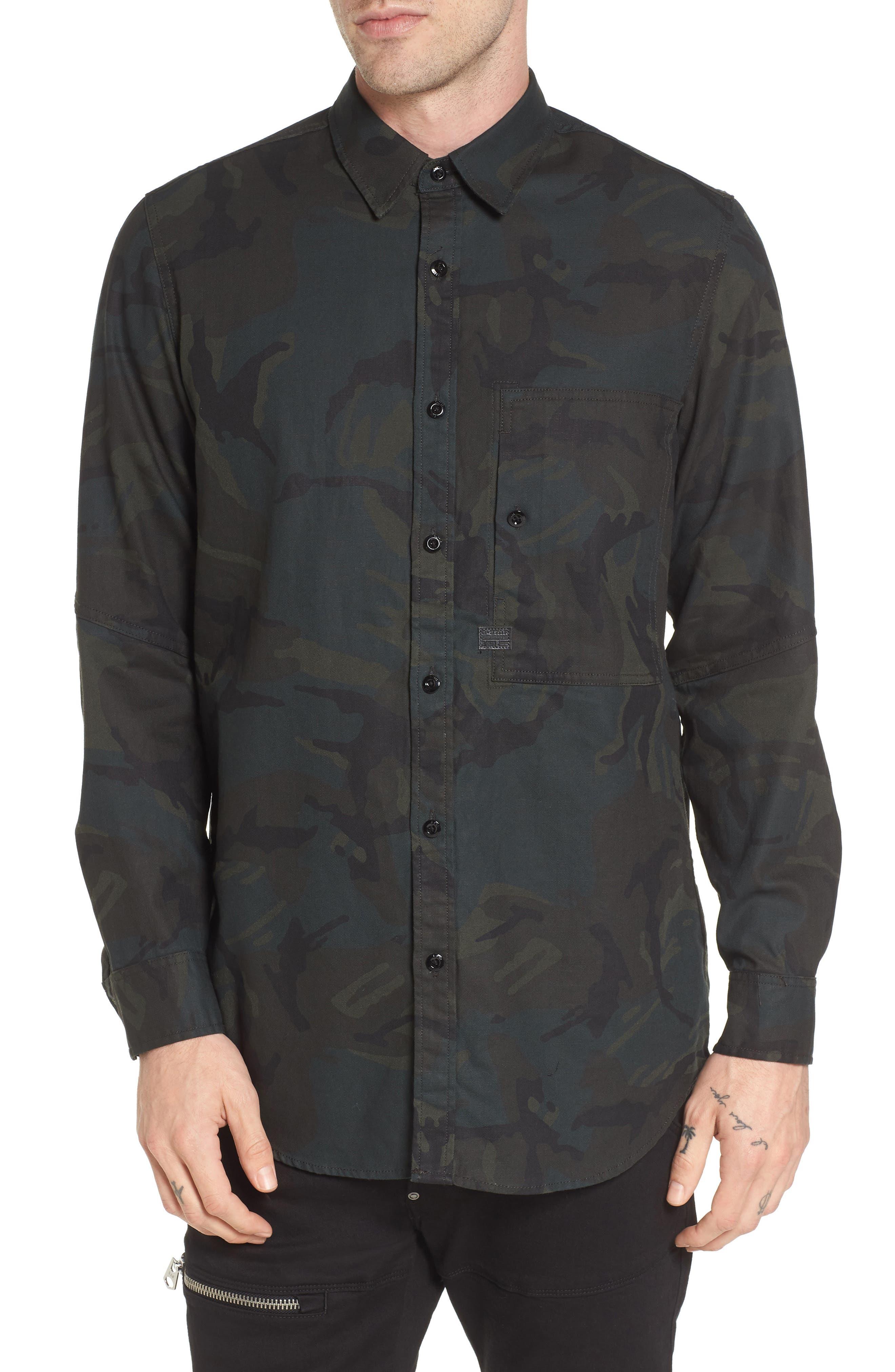 Stalt Long Sleeve Denim Shirt,                         Main,                         color, Asphalt/ Black