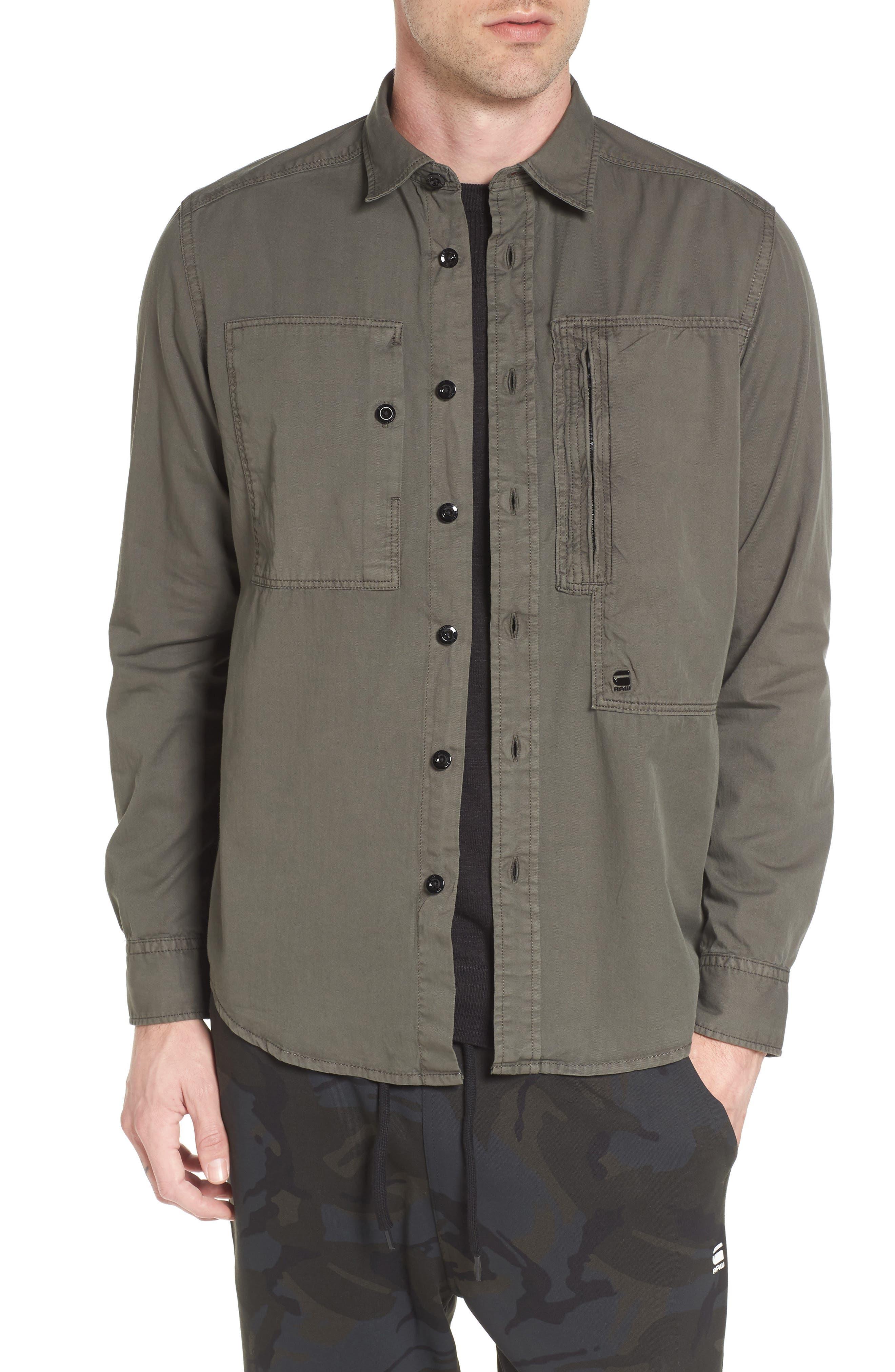 Powel Zip Pocket Shirt,                         Main,                         color, Grey
