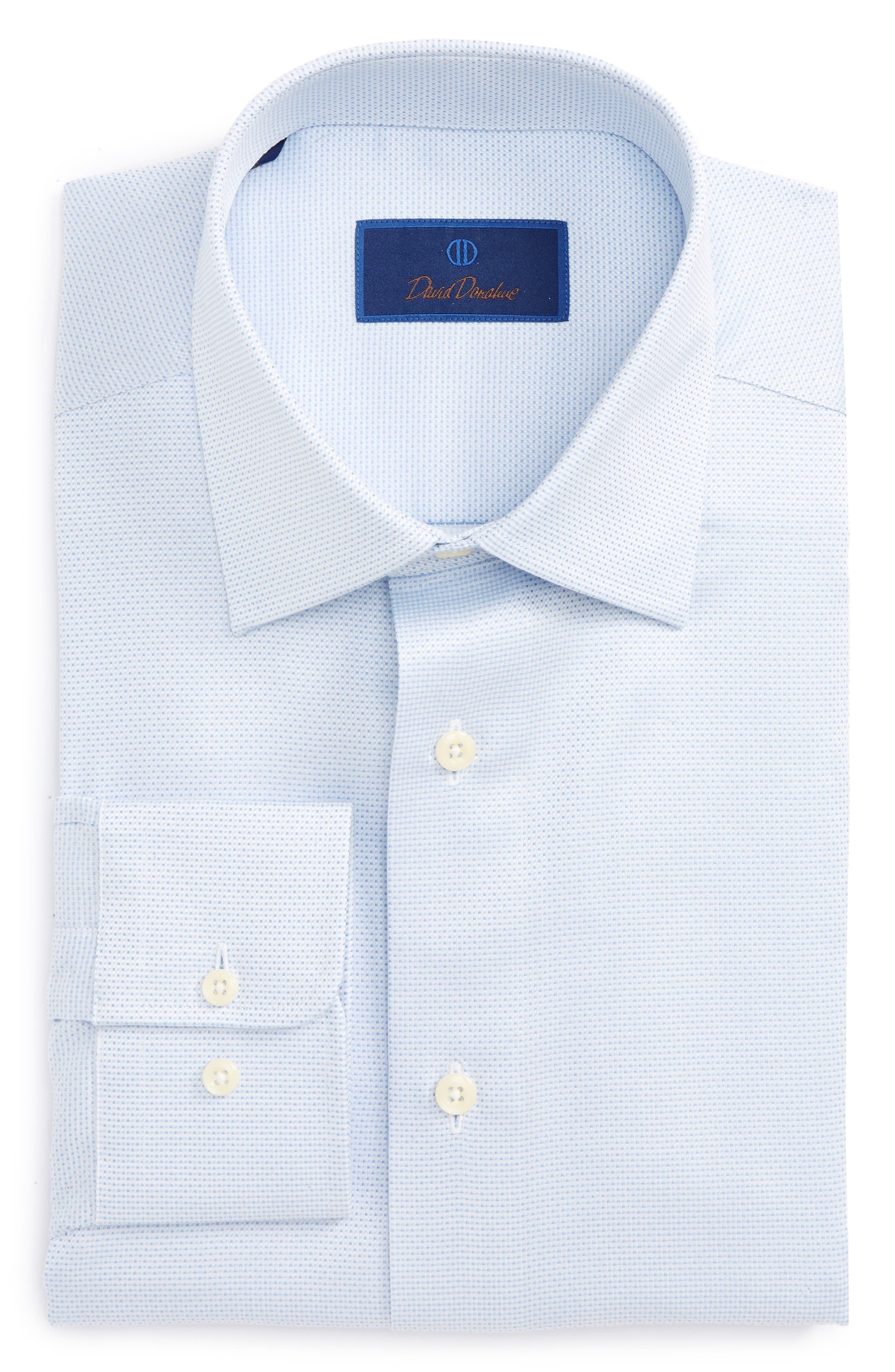 Main Image - David Donahue Regular Fit Solid Dress Shirt