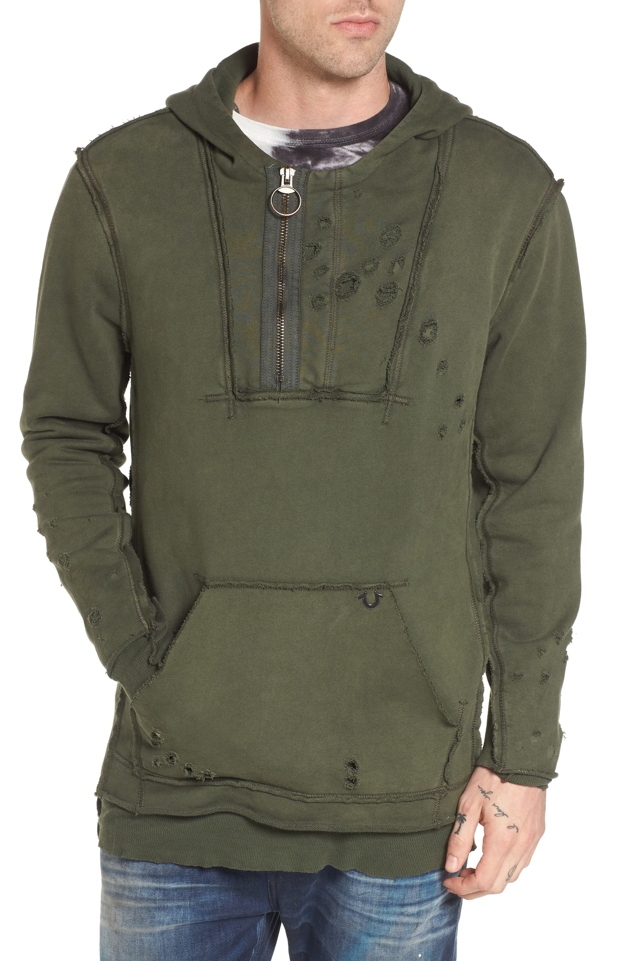 Distressed Pullover Hoodie,                         Main,                         color, Militant Green