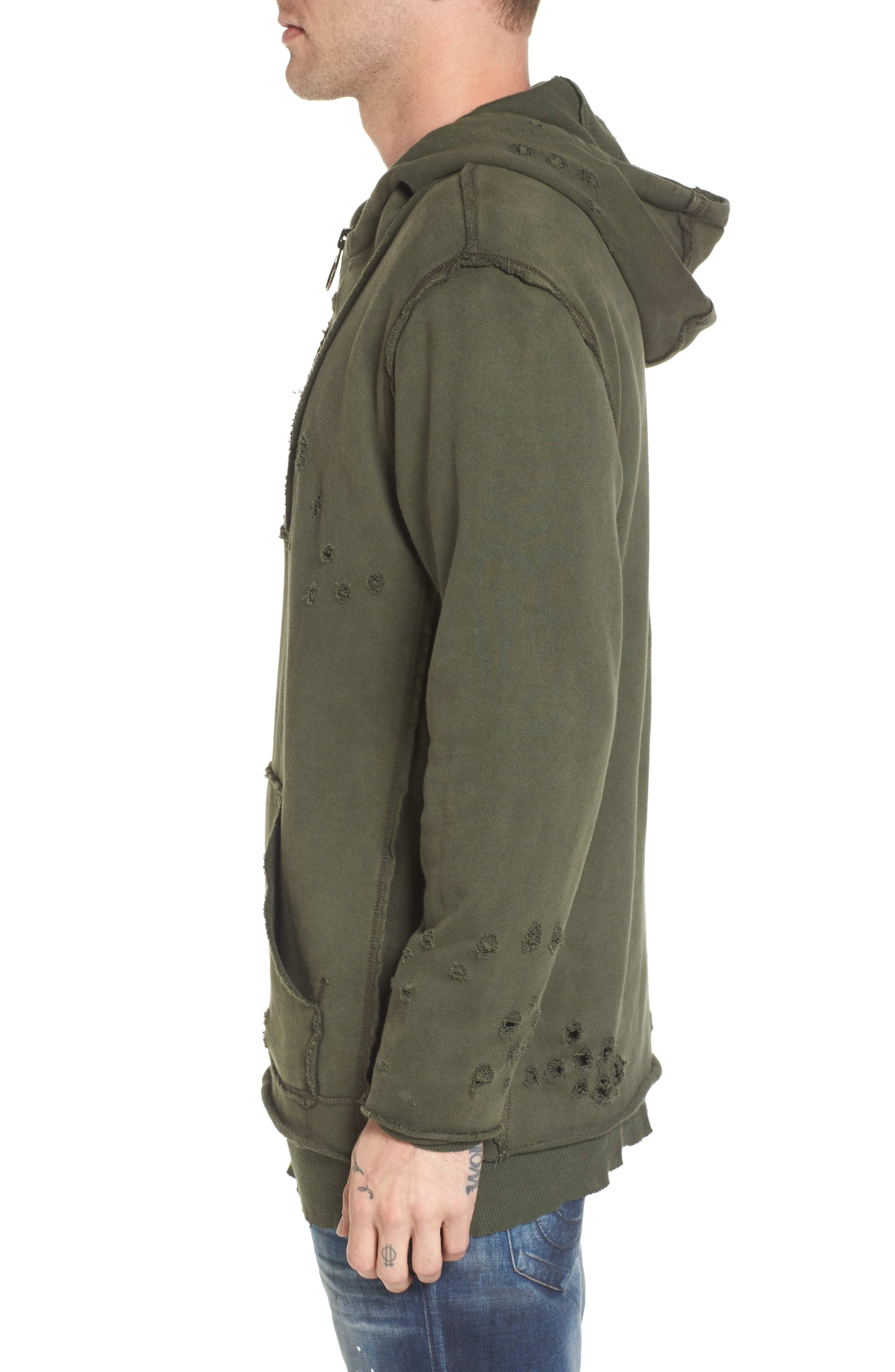 Distressed Pullover Hoodie,                             Alternate thumbnail 3, color,                             Militant Green