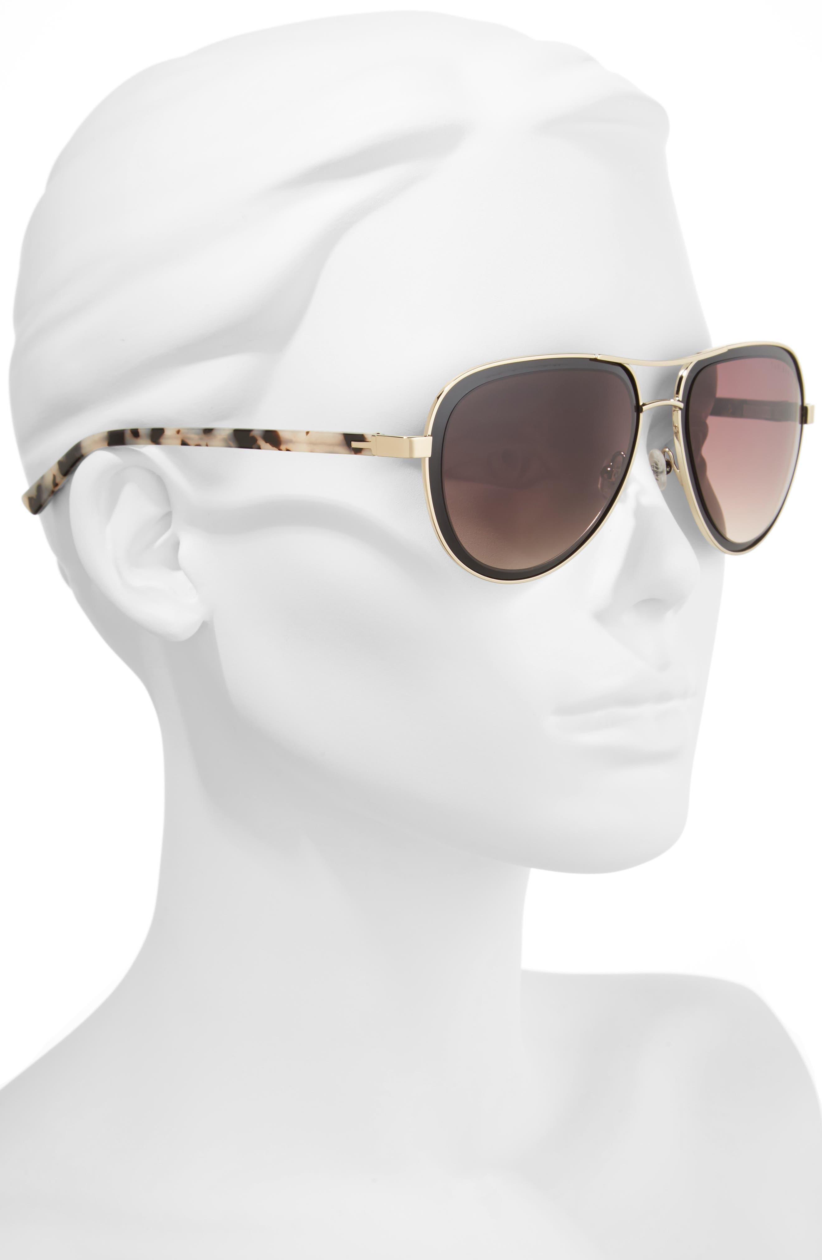 54mm Aviator Sunglasses,                             Alternate thumbnail 2, color,                             Black