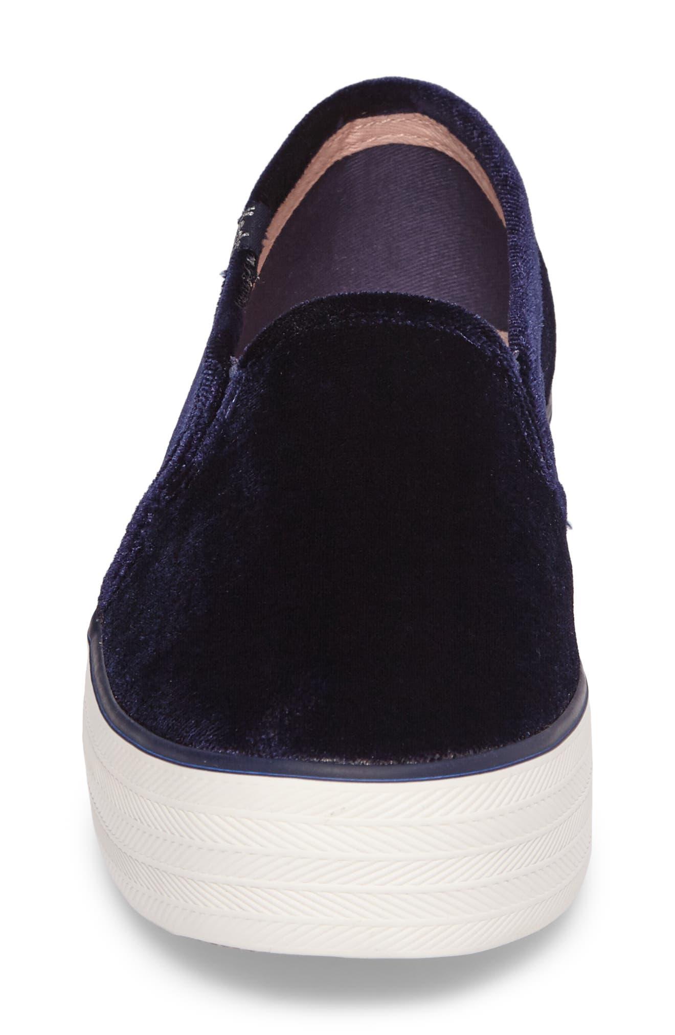 Triple Decker Slip-On Platform Sneaker,                             Alternate thumbnail 4, color,                             Navy Velvet