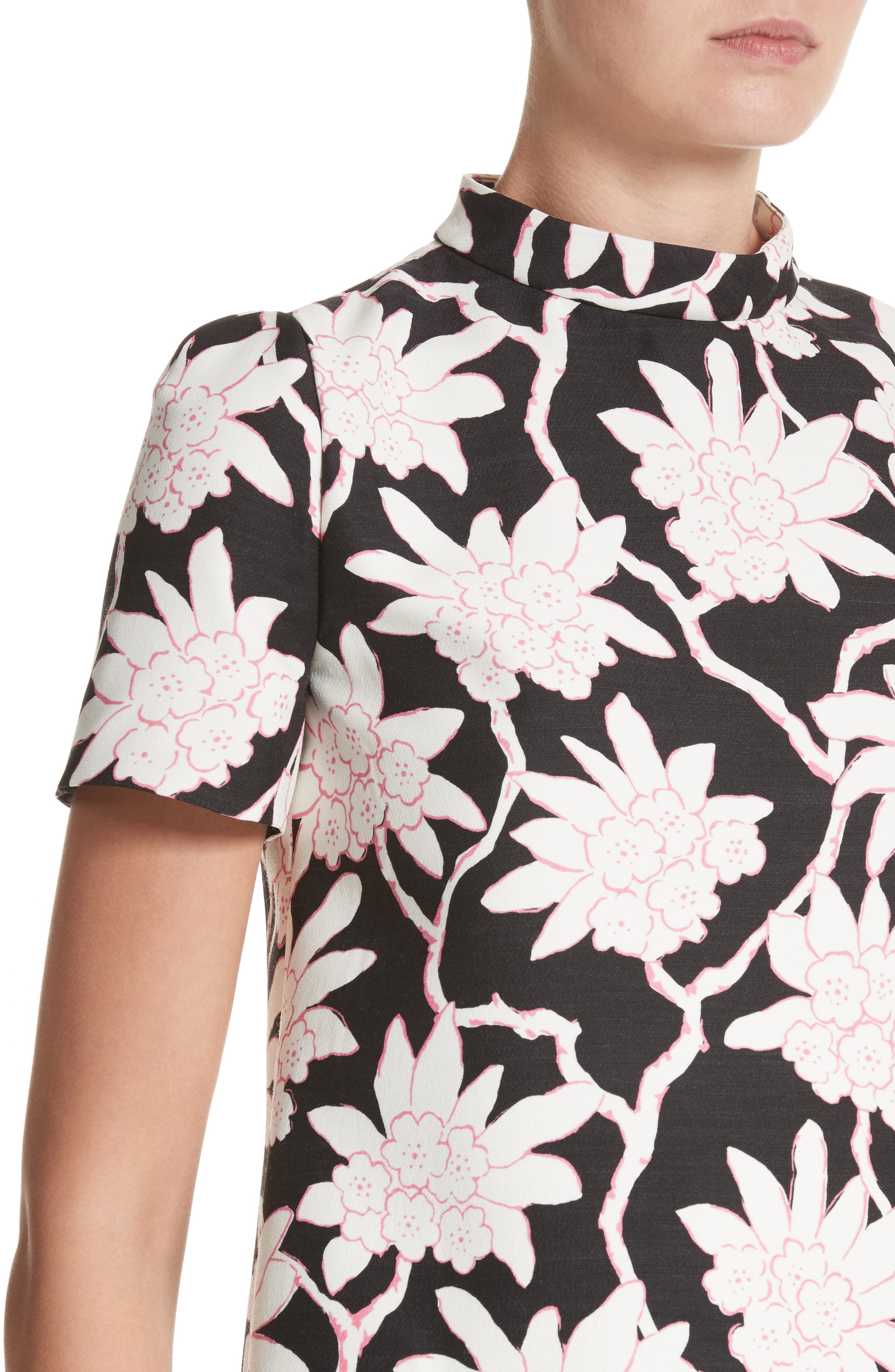 Rhododendron Print Wool & Silk Top,                             Alternate thumbnail 4, color,                             Black
