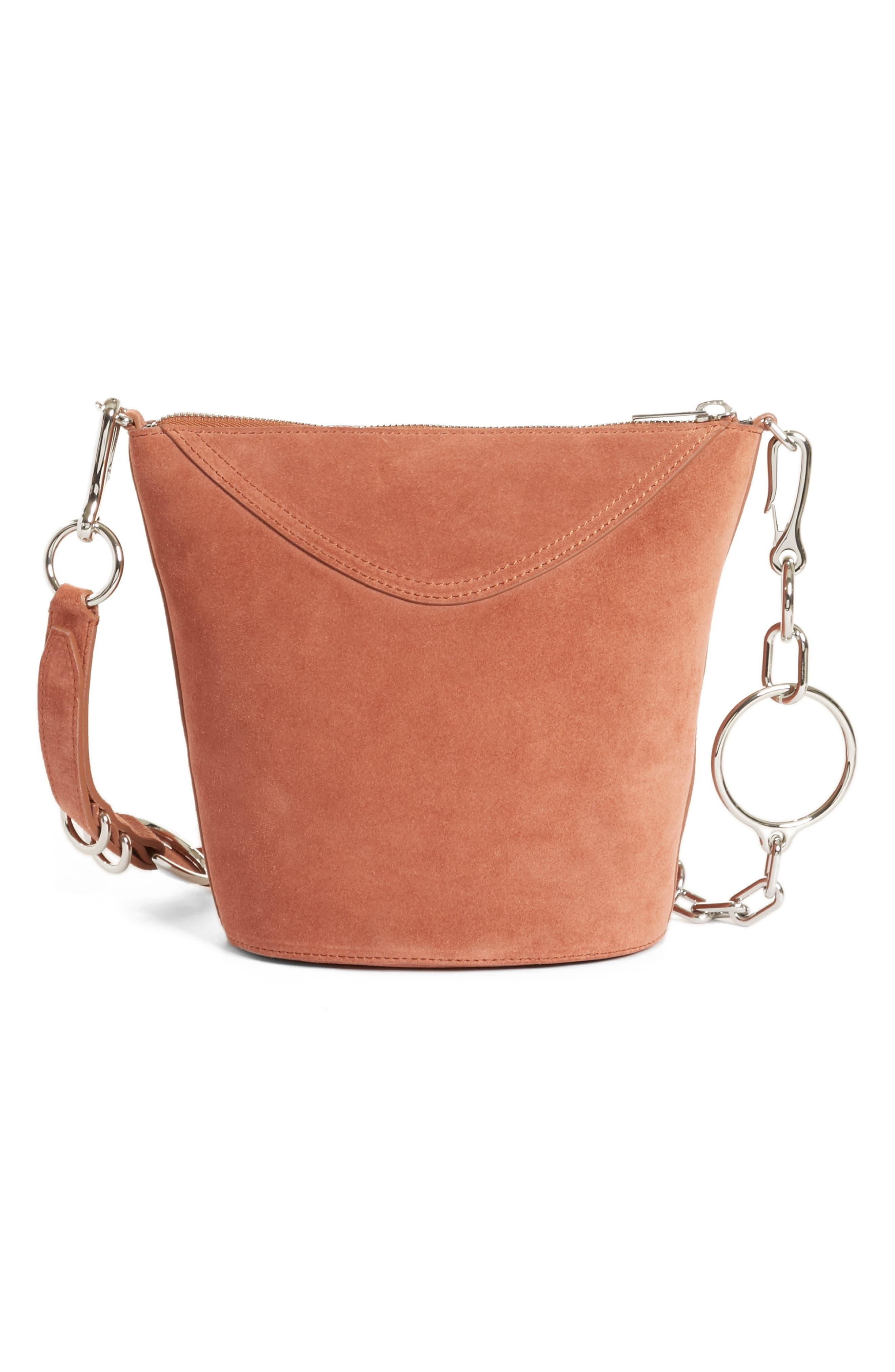 Ace Suede Bucket Bag,                             Alternate thumbnail 3, color,                             Terracotta