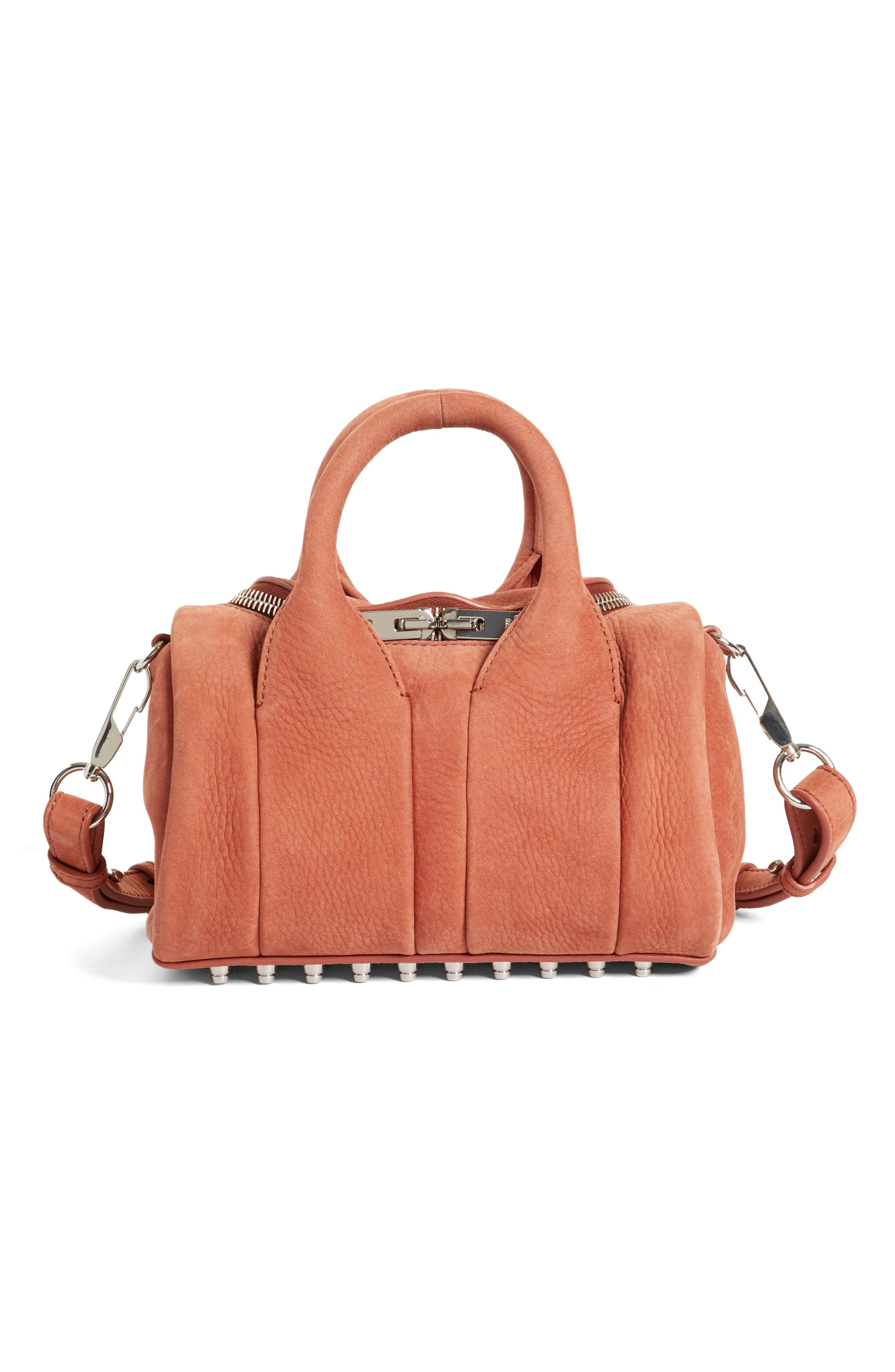 Mini Rockie - Nickel Leather Satchel,                         Main,                         color, Terracotta