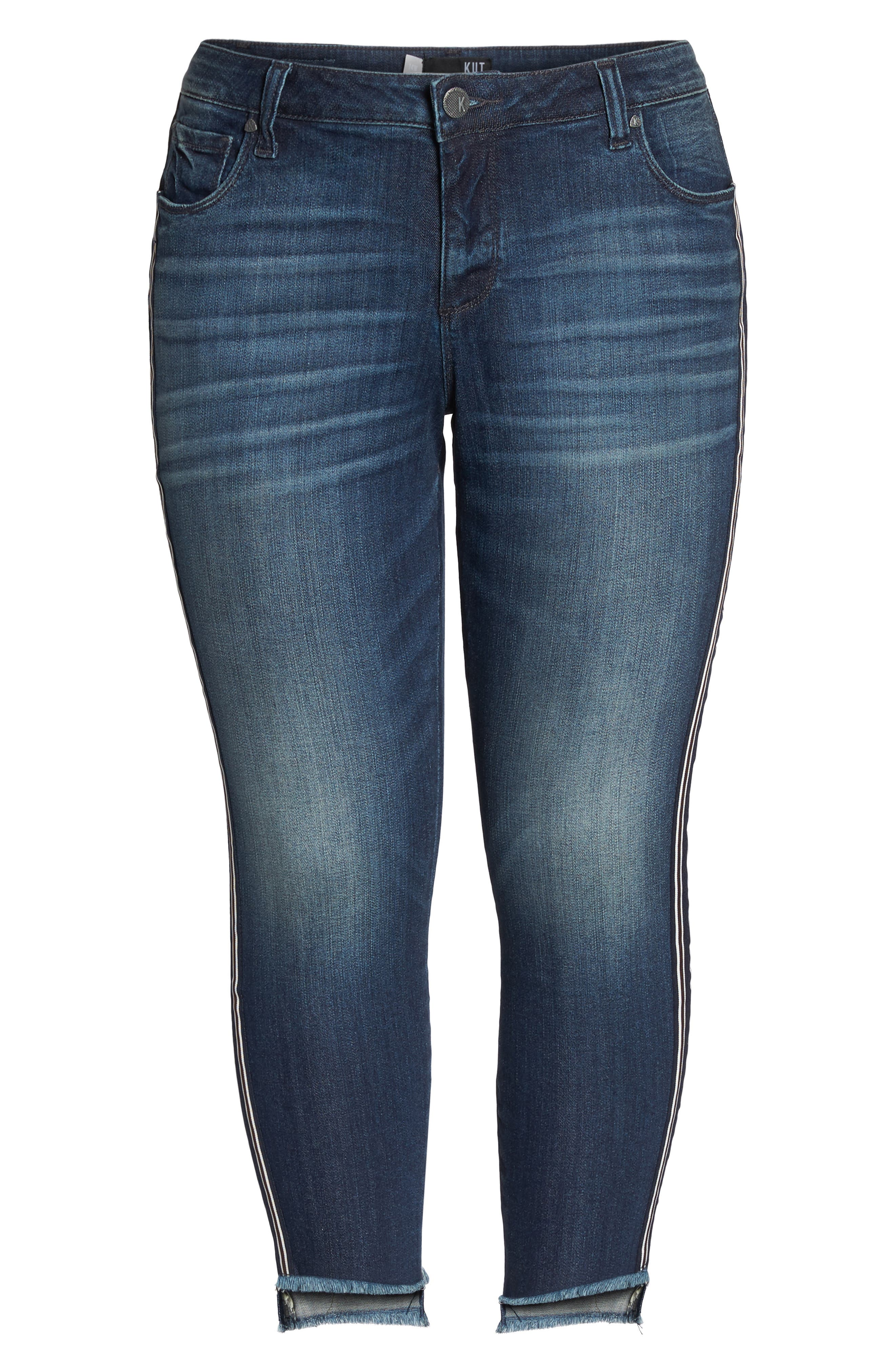 Alternate Image 6  - KUT from the Kloth Reese Side Stripe Uneven Ankle Jeans (Analyzed) (Plus Size)