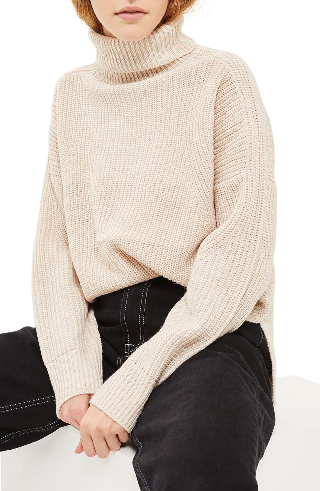 Topshop Boxy Ribbed Roll Neck Sweater