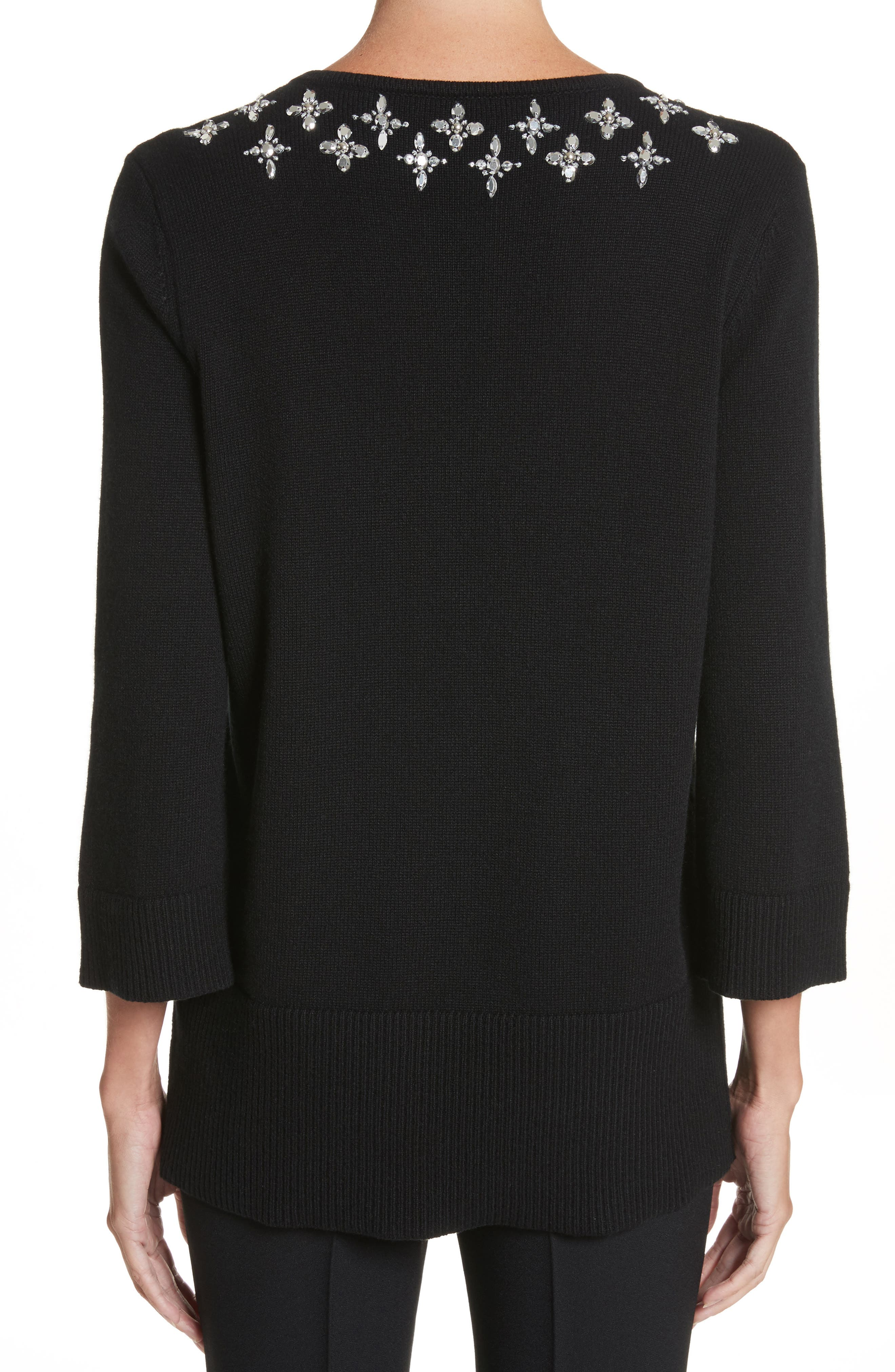 Embellished Cashmere Tunic,                             Alternate thumbnail 2, color,                             Black