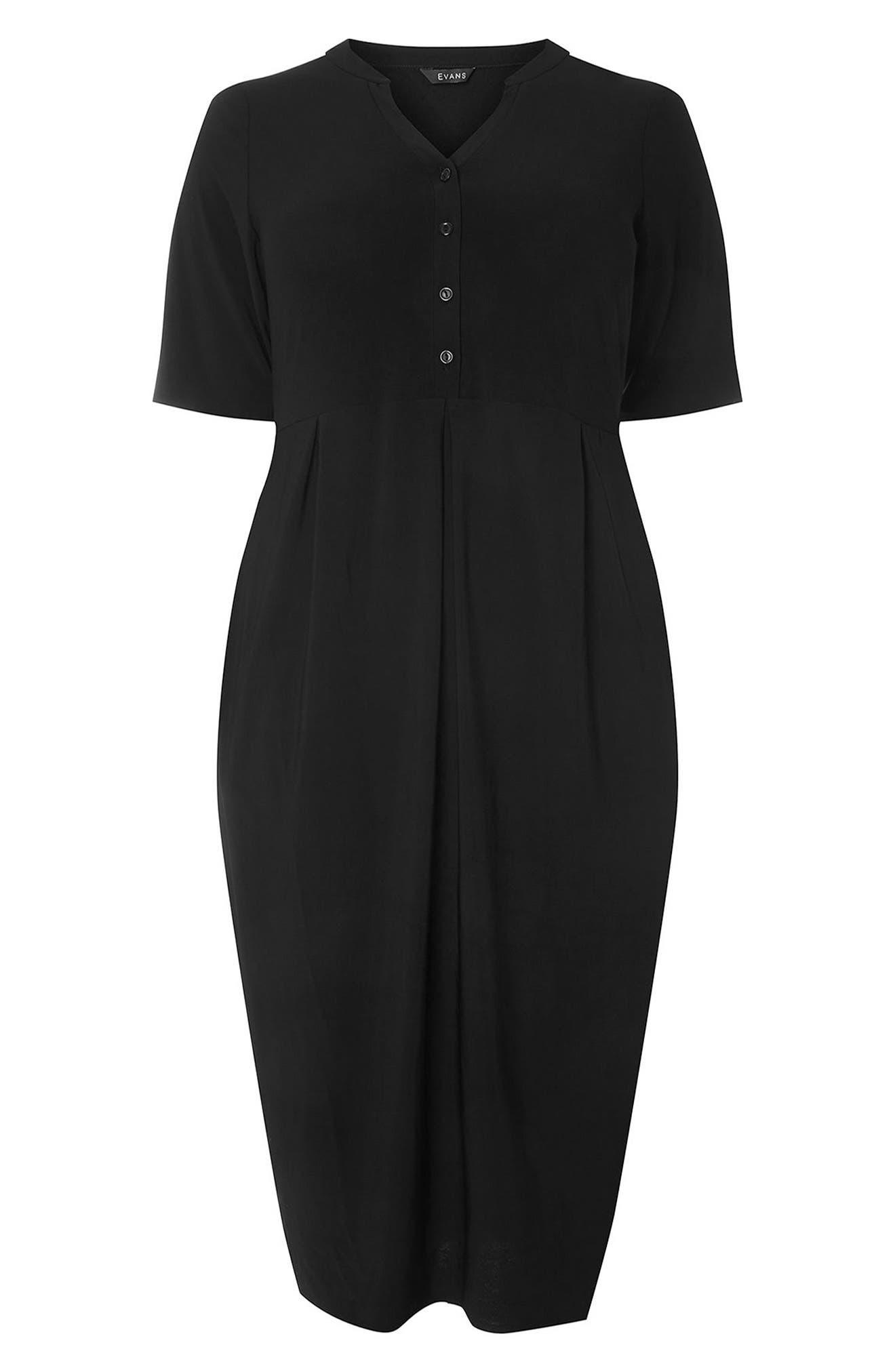 Pleat Jersey Dress,                             Alternate thumbnail 5, color,                             Black