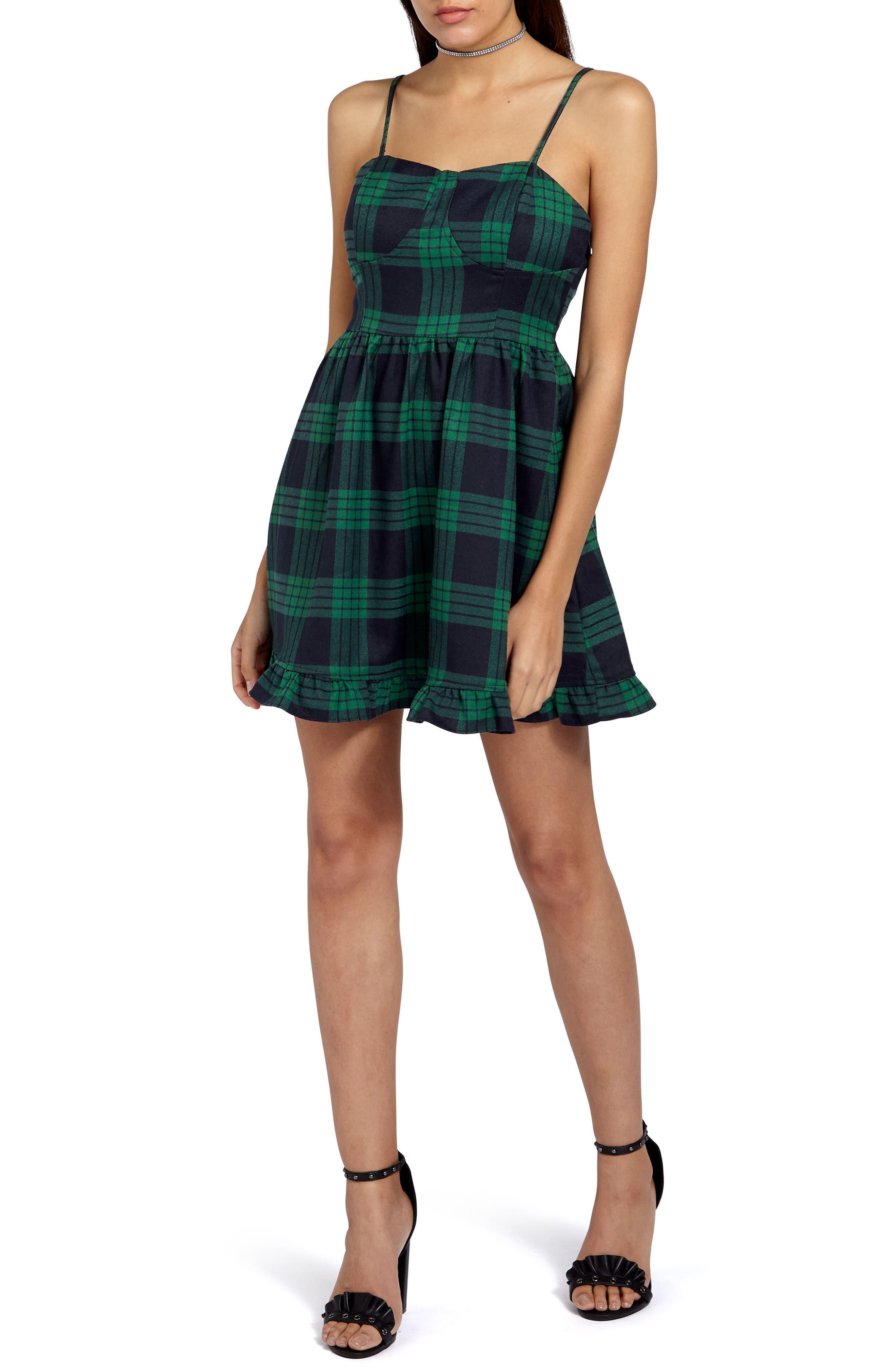 Tartan Plaid Minidress,                         Main,                         color, Green