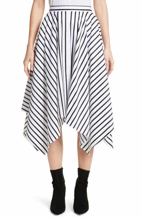 Adam Lippes Stripe Cotton Asymmetrical Skirt