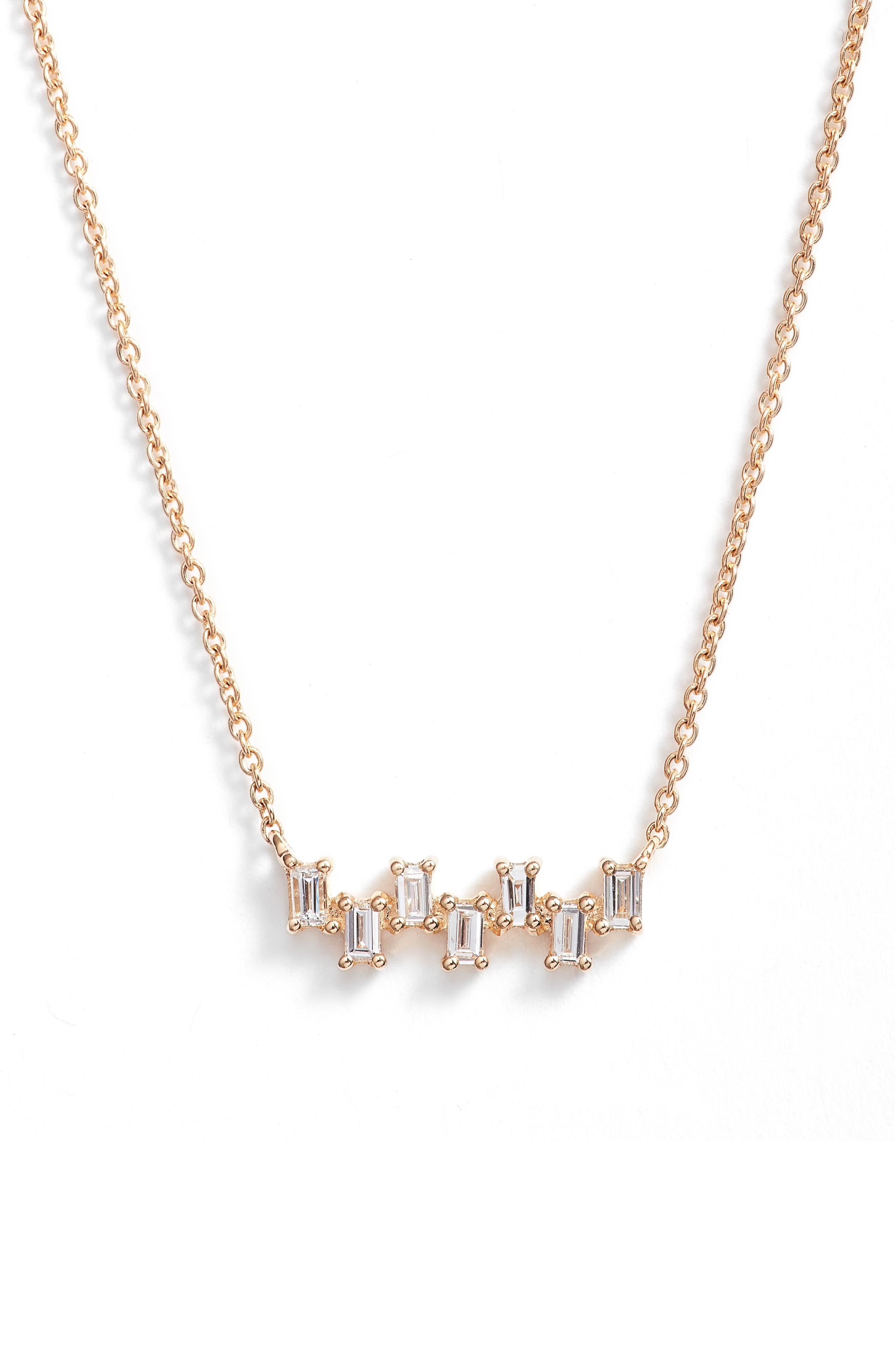 Sadie Diamond Bar Pendant Necklace,                         Main,                         color, Yellow Gold