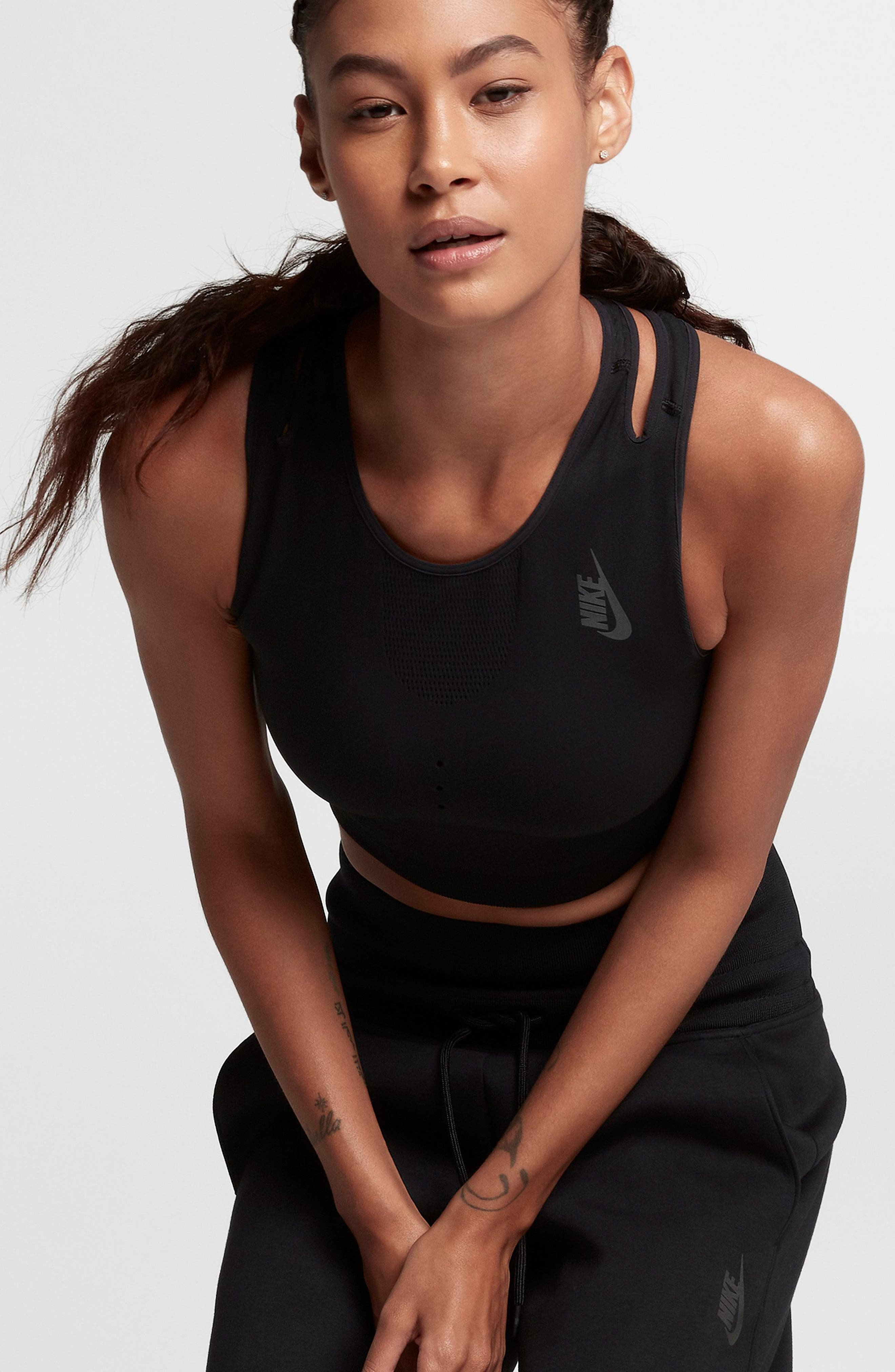 NikeLab NK One Crop Tank,                             Alternate thumbnail 4, color,                             Black