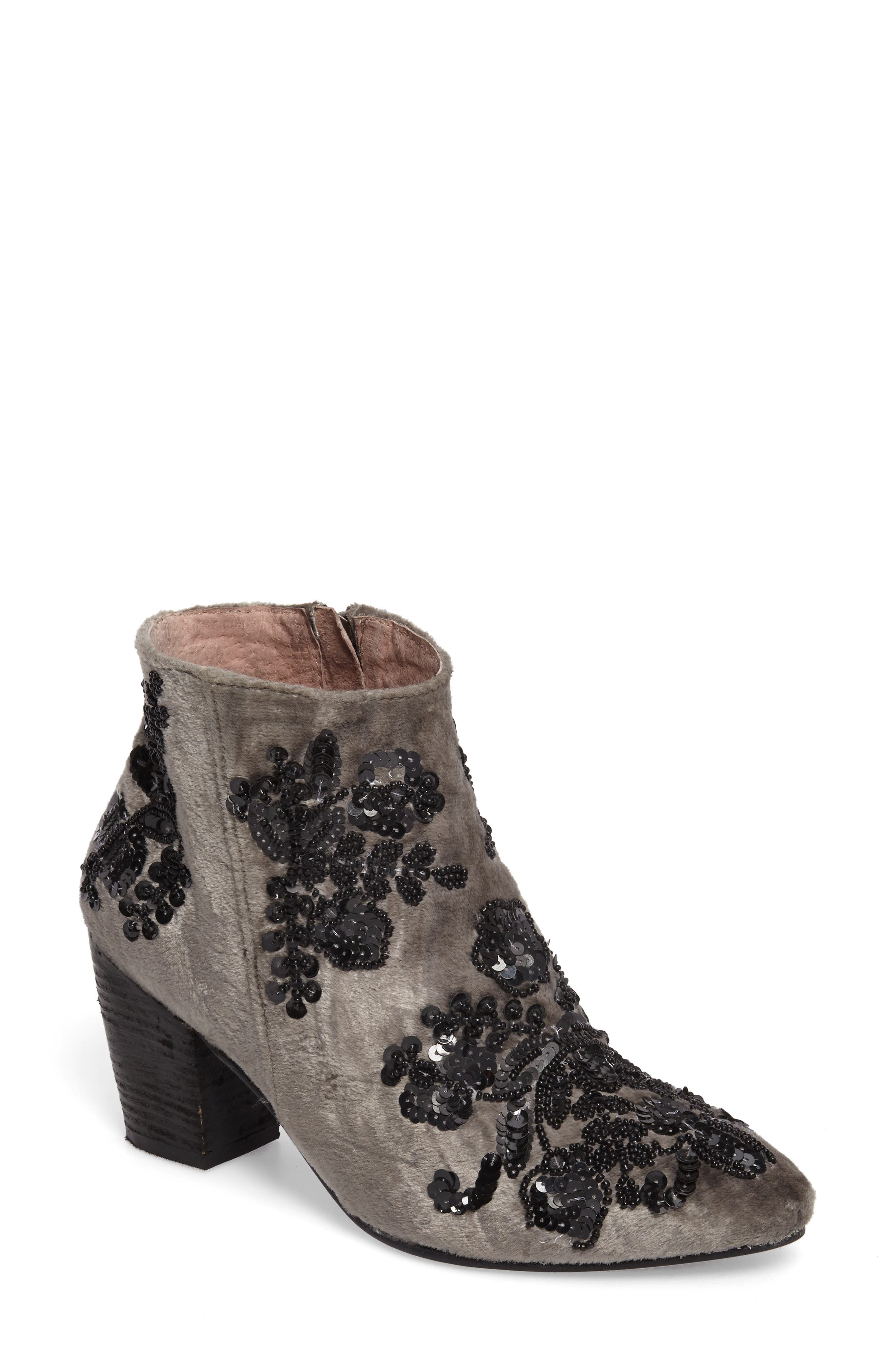 Night Out Velvet Bootie,                             Main thumbnail 1, color,                             Green