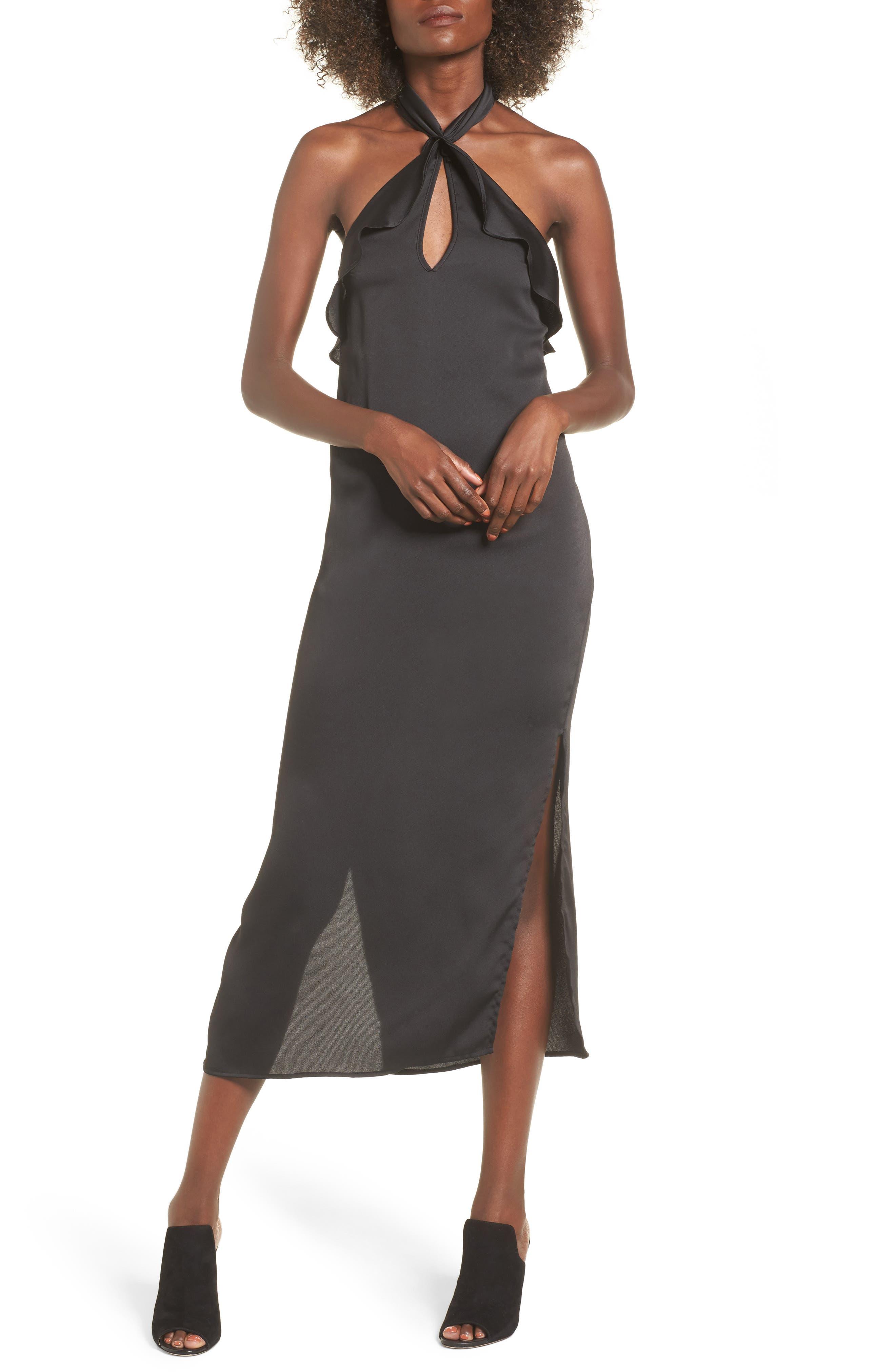 Lola Ruffle Halter Dress,                         Main,                         color, Black