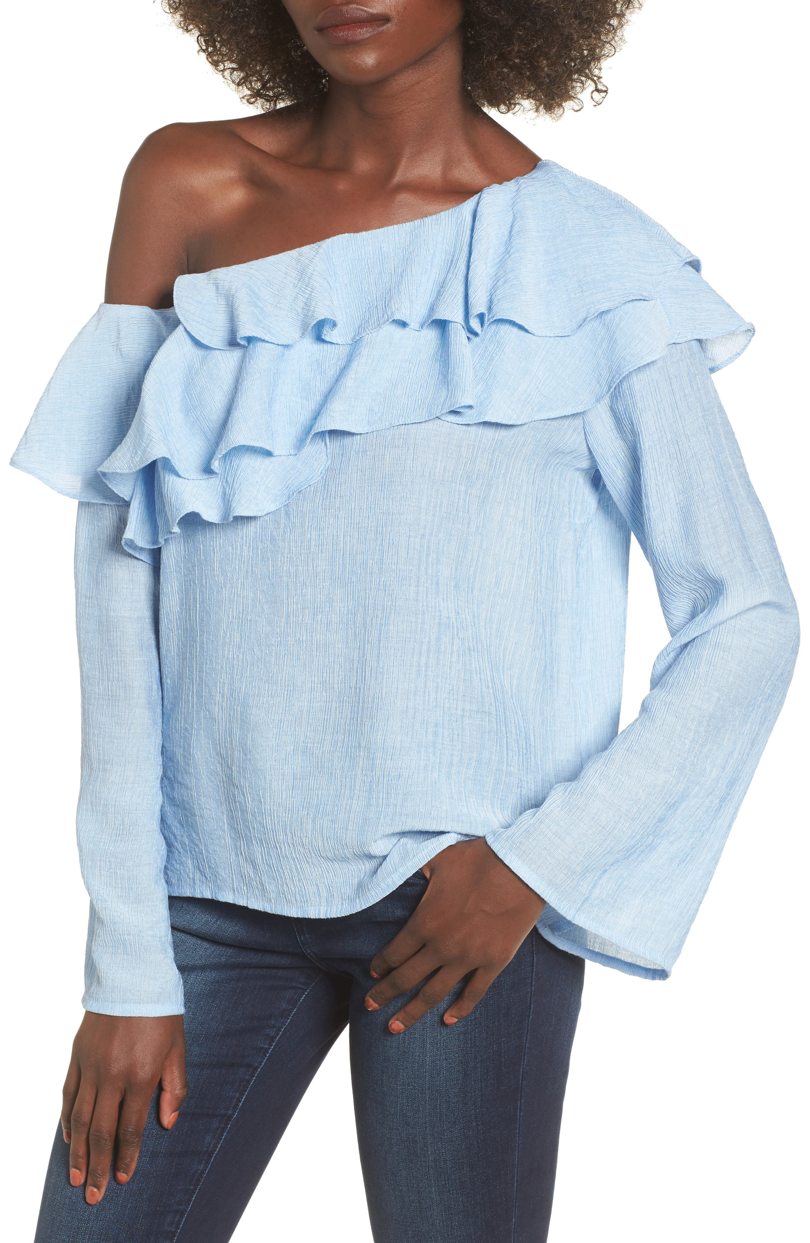 Ruffle One-Shoulder Top,                         Main,                         color, Blue