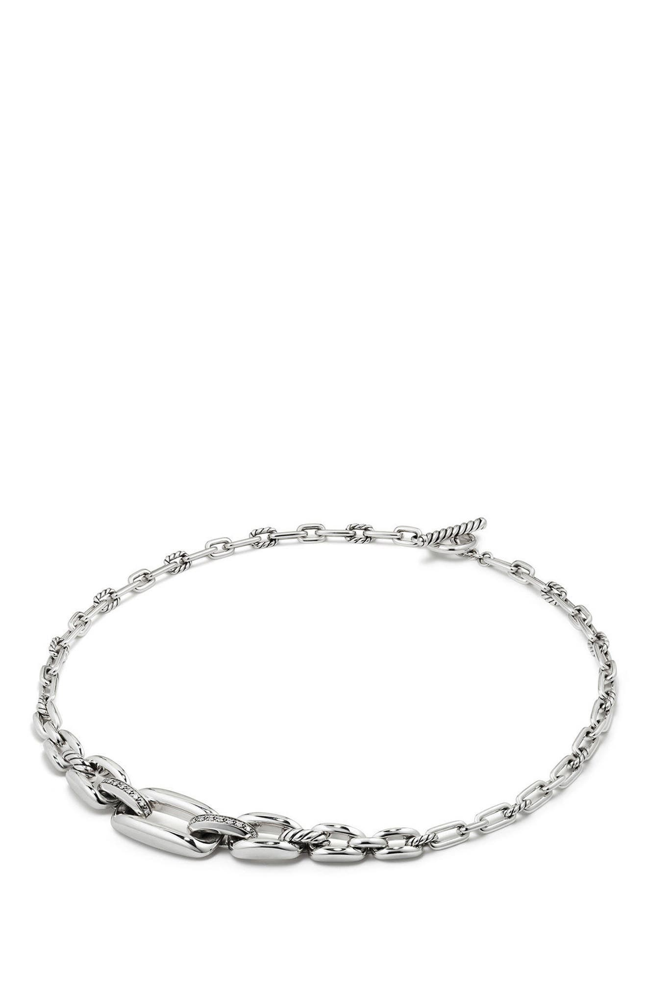 Wellesley Link Chain Station Necklace with Diamonds,                             Alternate thumbnail 2, color,                             Silver