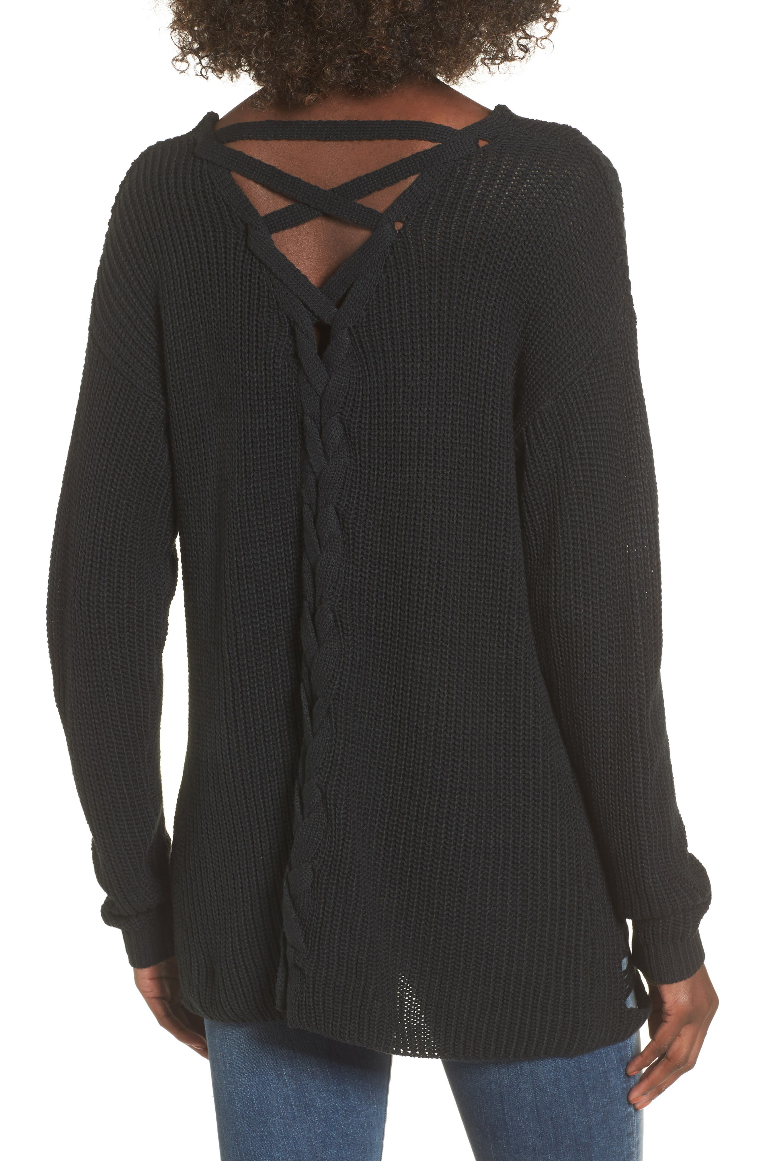 Cyndi Sweater,                             Alternate thumbnail 3, color,                             Black