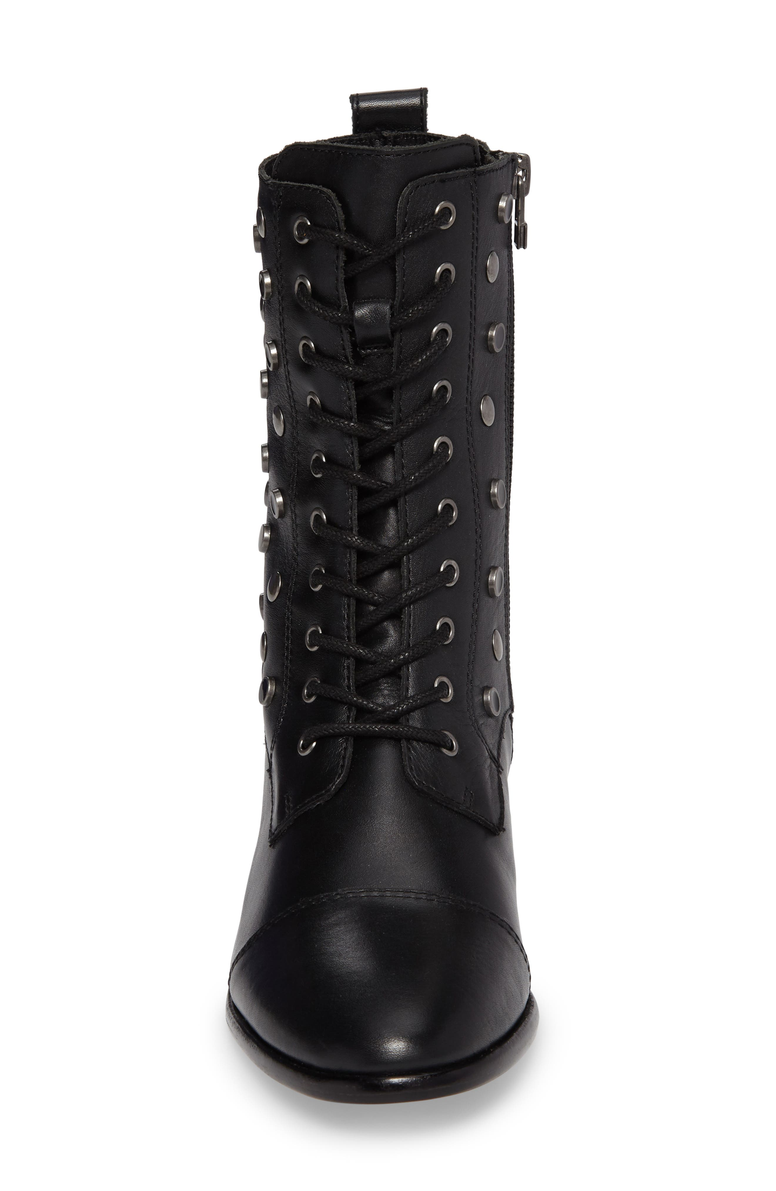 M4D3 Grazie Embellished Water Resistant Boot,                             Alternate thumbnail 4, color,                             Black Leather