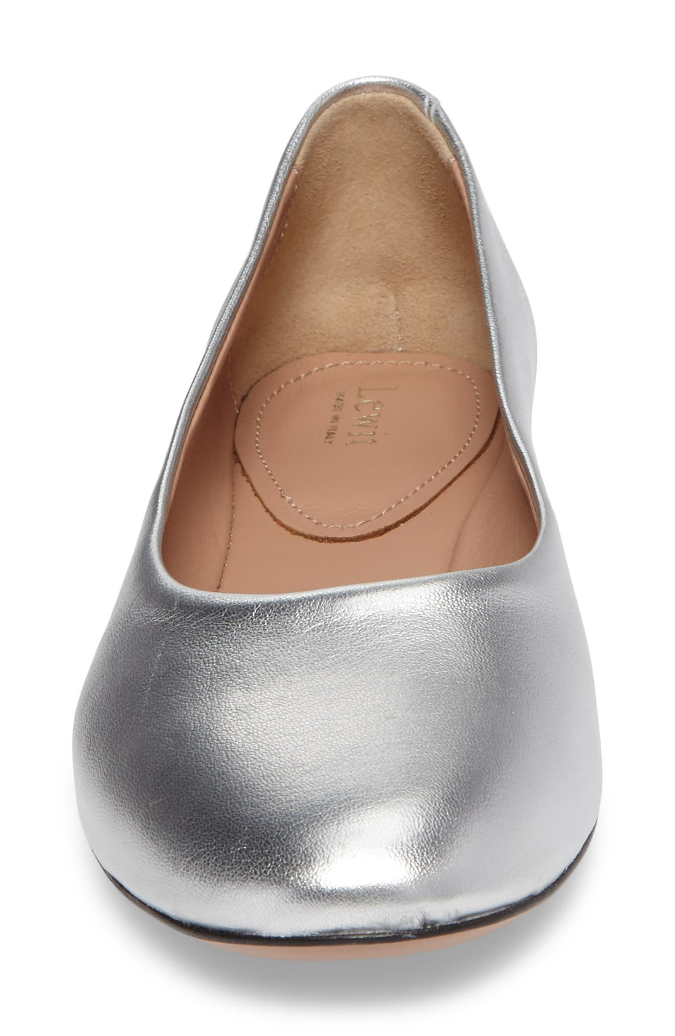 Gemma Ballerina Flat,                             Alternate thumbnail 4, color,                             Silver Leather