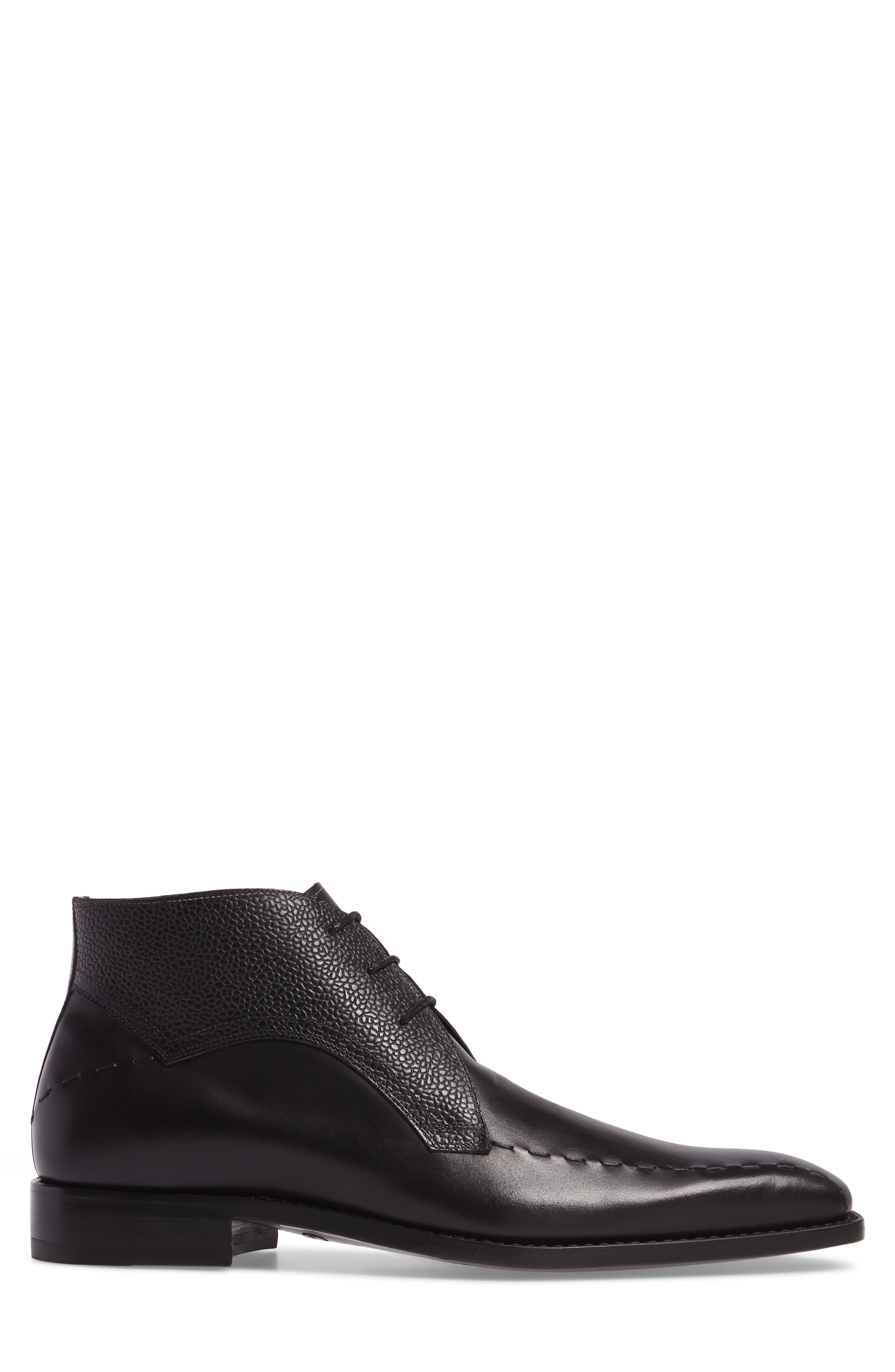 Moriles Chukka Boot,                             Alternate thumbnail 3, color,                             Black Leather