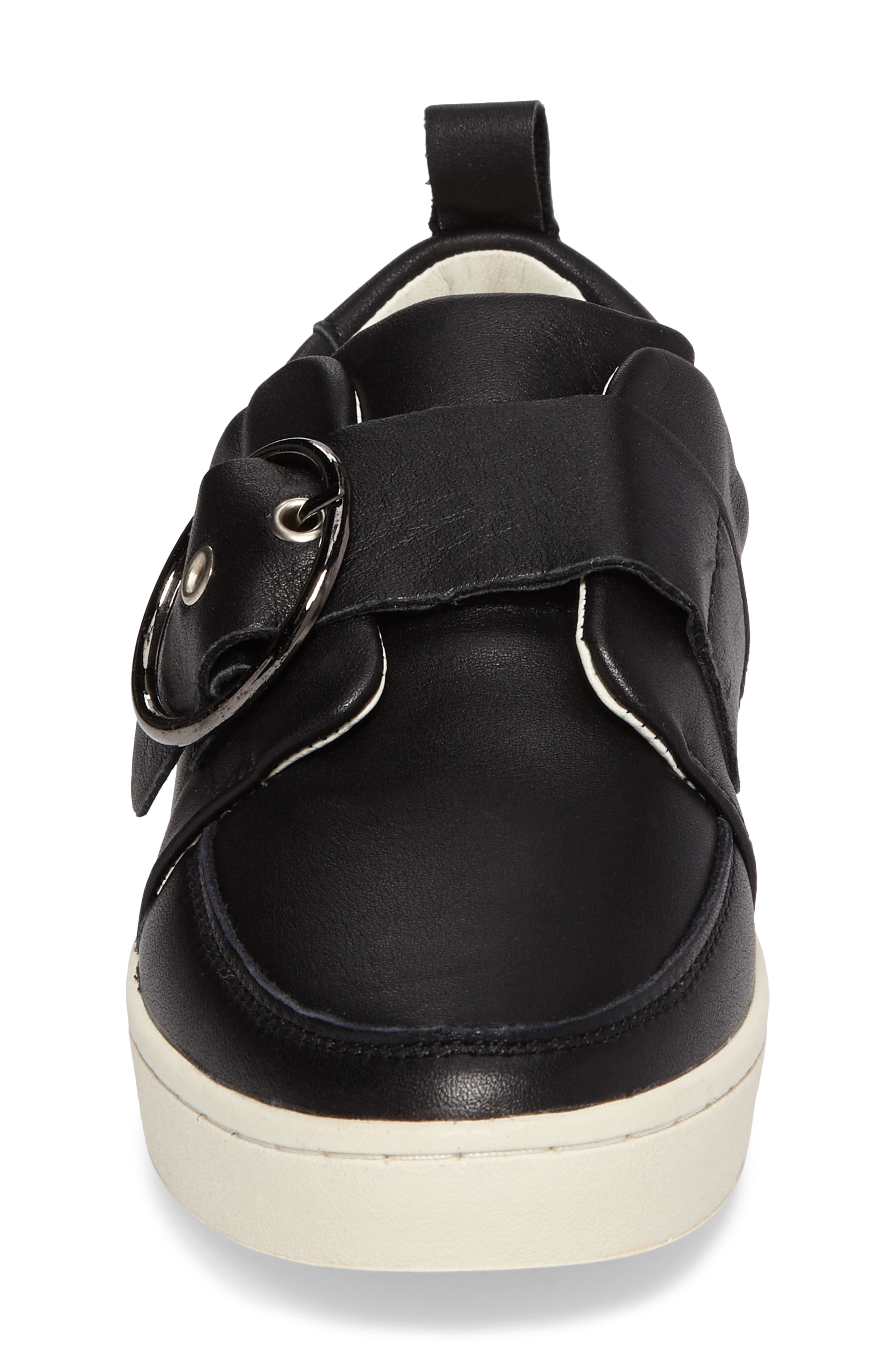 Mice Buckle Sneaker,                             Alternate thumbnail 4, color,                             Black Leather