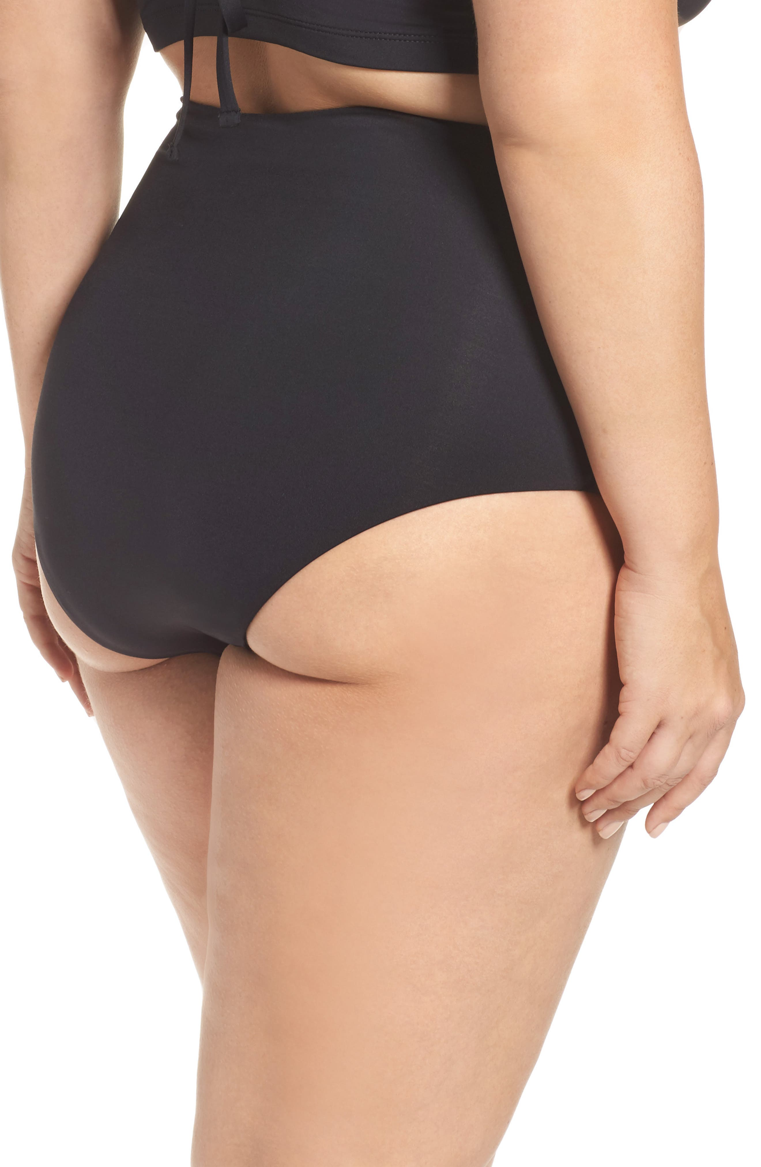 No Strings Attached High Waist Swim Briefs,                             Alternate thumbnail 2, color,                             Black