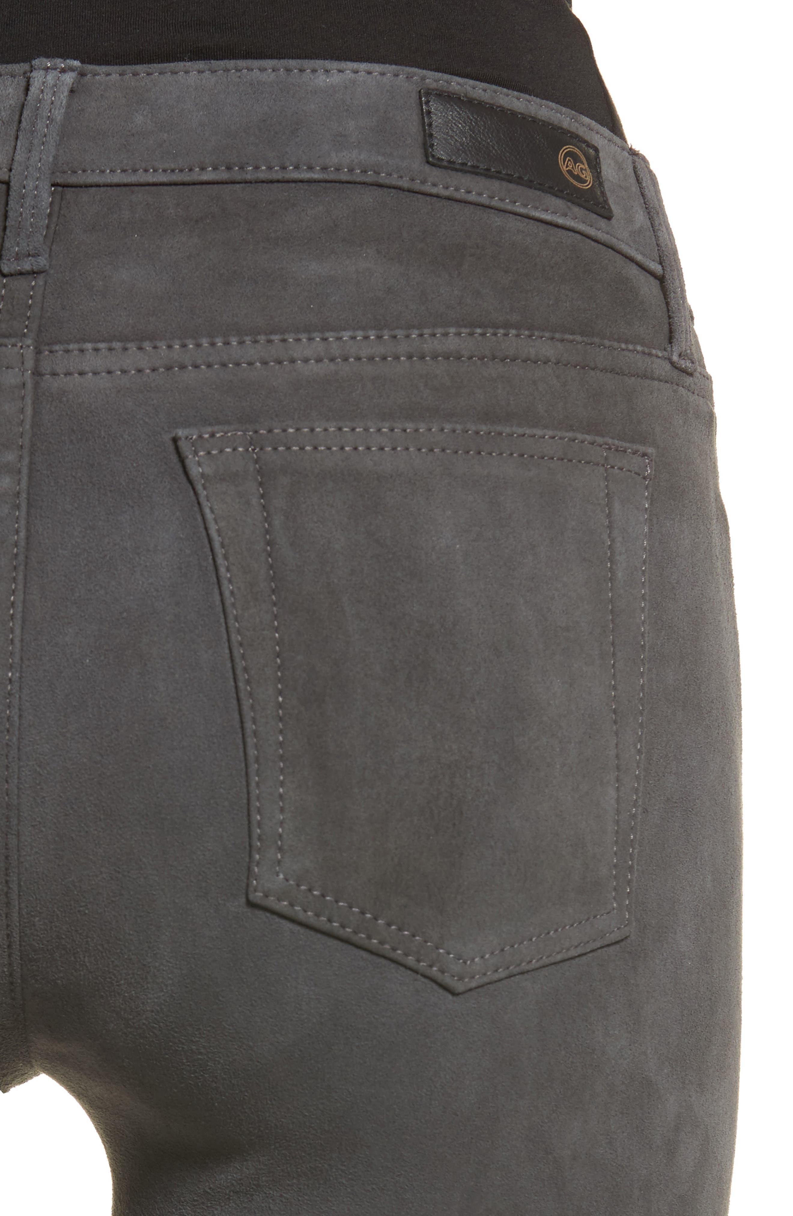 The Legging Super Skinny Suede Pants,                             Alternate thumbnail 4, color,                             Dark Slate