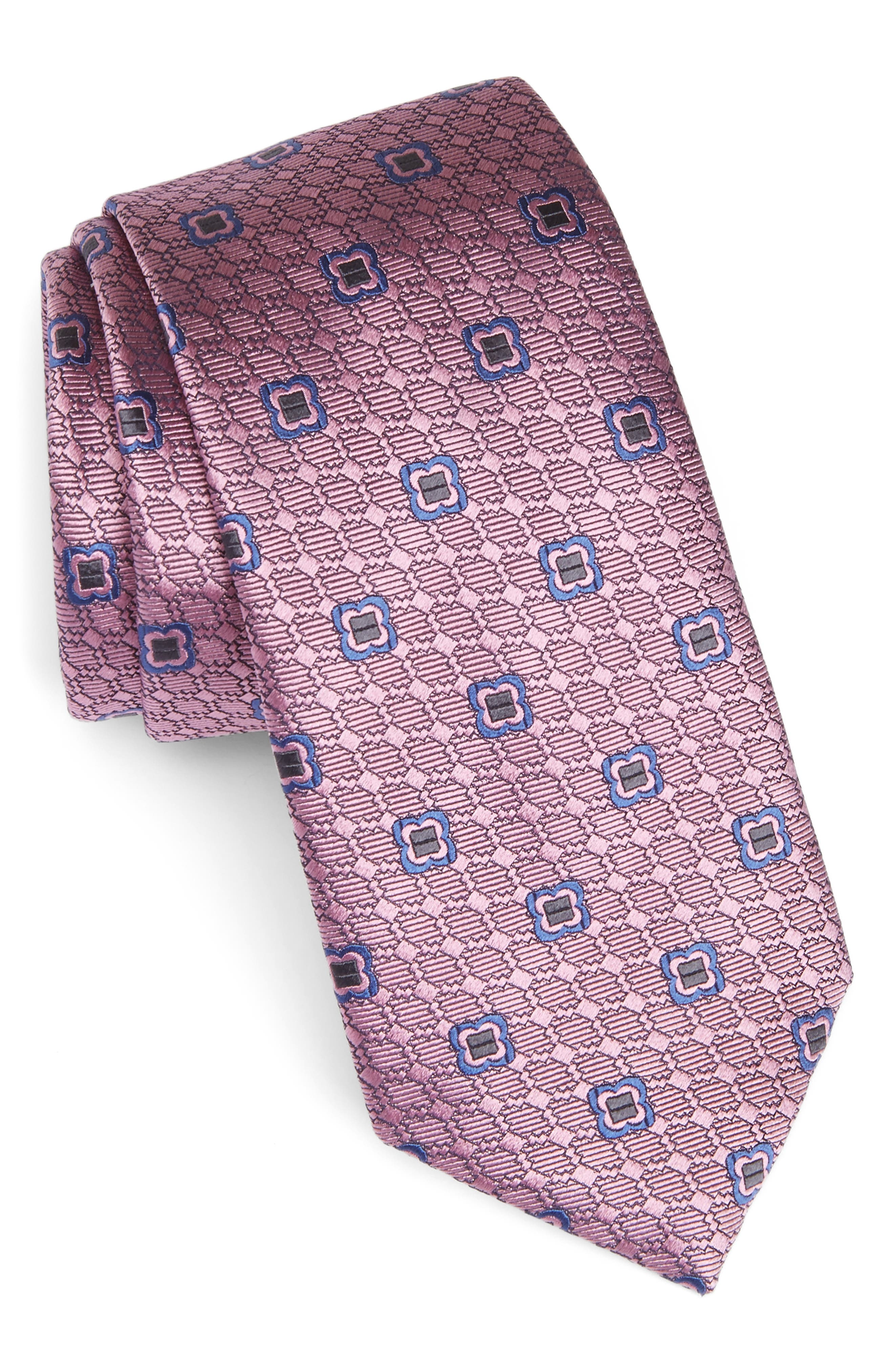 Geometric Silk Tie,                             Main thumbnail 1, color,                             Pink