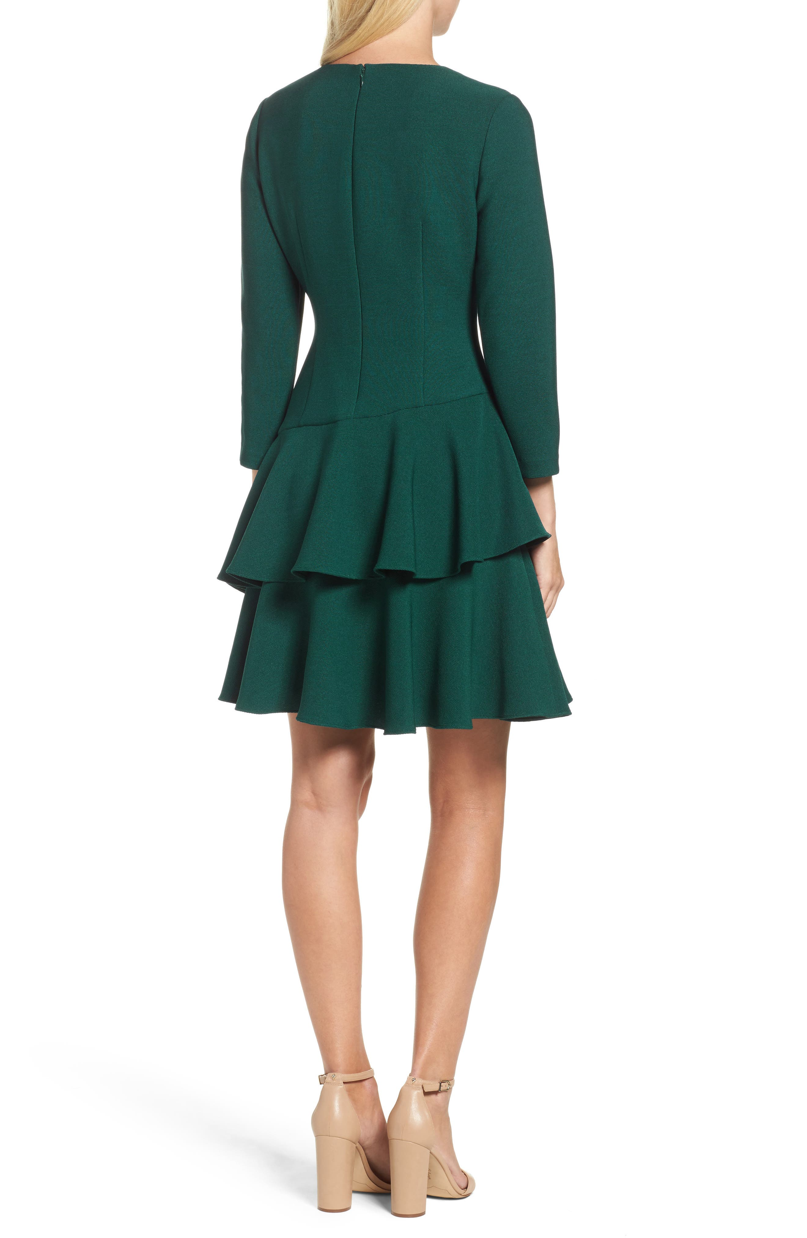 Tiered Ruffle Knit Dress,                             Alternate thumbnail 2, color,                             Hunter