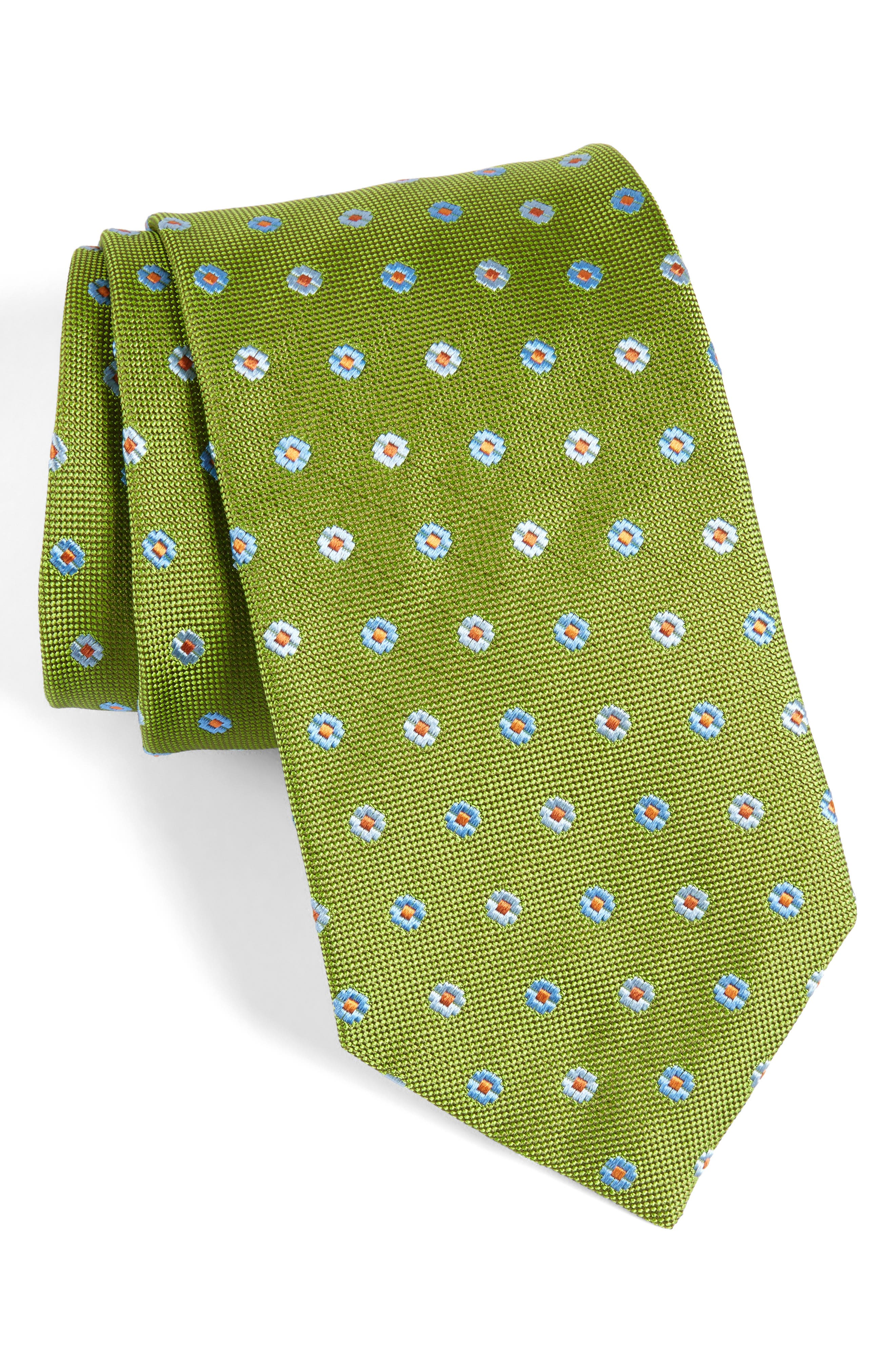 Neat Floral Medallion Silk Tie,                         Main,                         color, Olive
