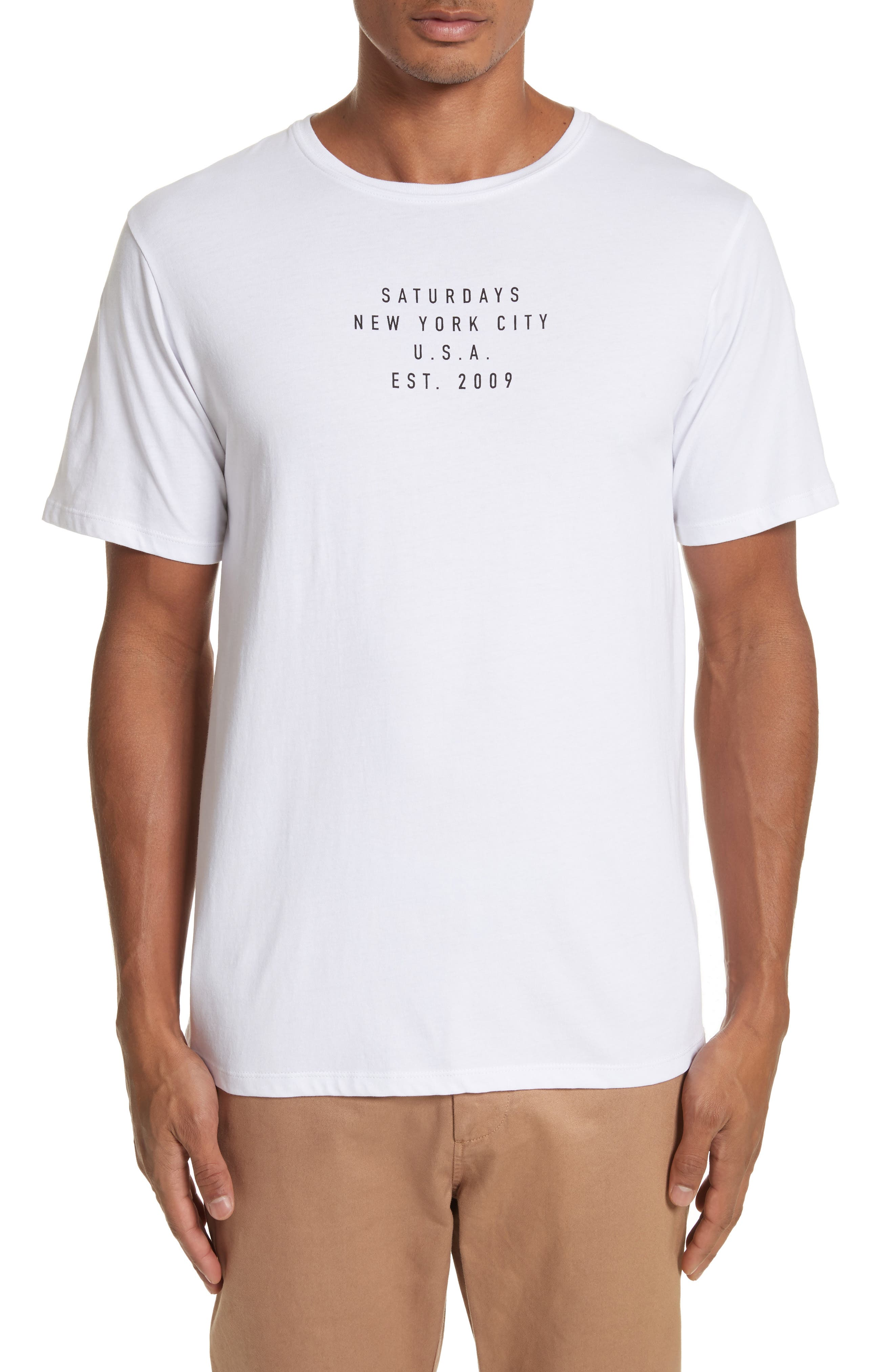 Saturdays USA Established Graphic T-Shirt,                         Main,                         color, White