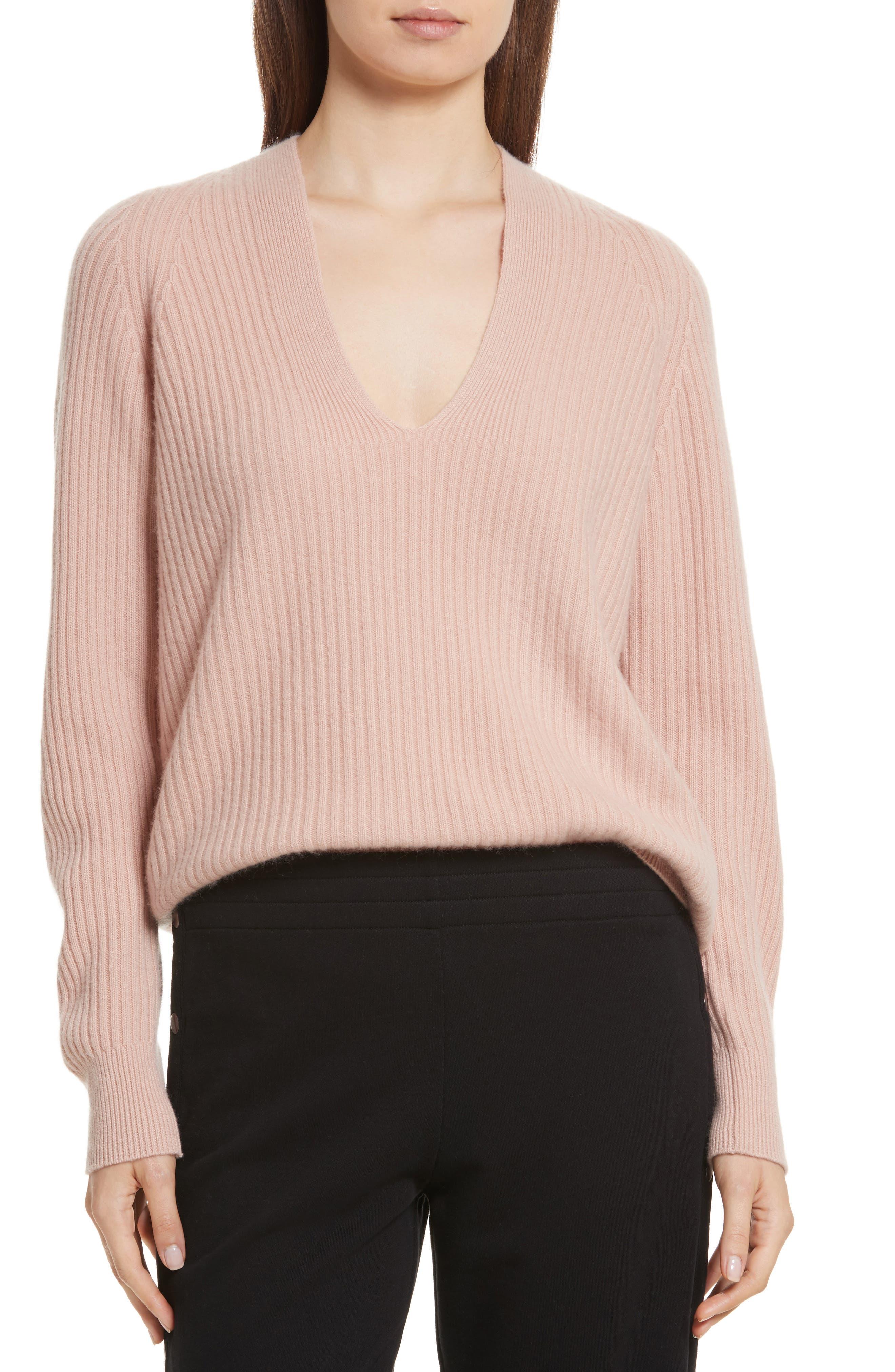 Wool Blend Raglan V-Neck Sweater,                             Main thumbnail 1, color,                             Quartz