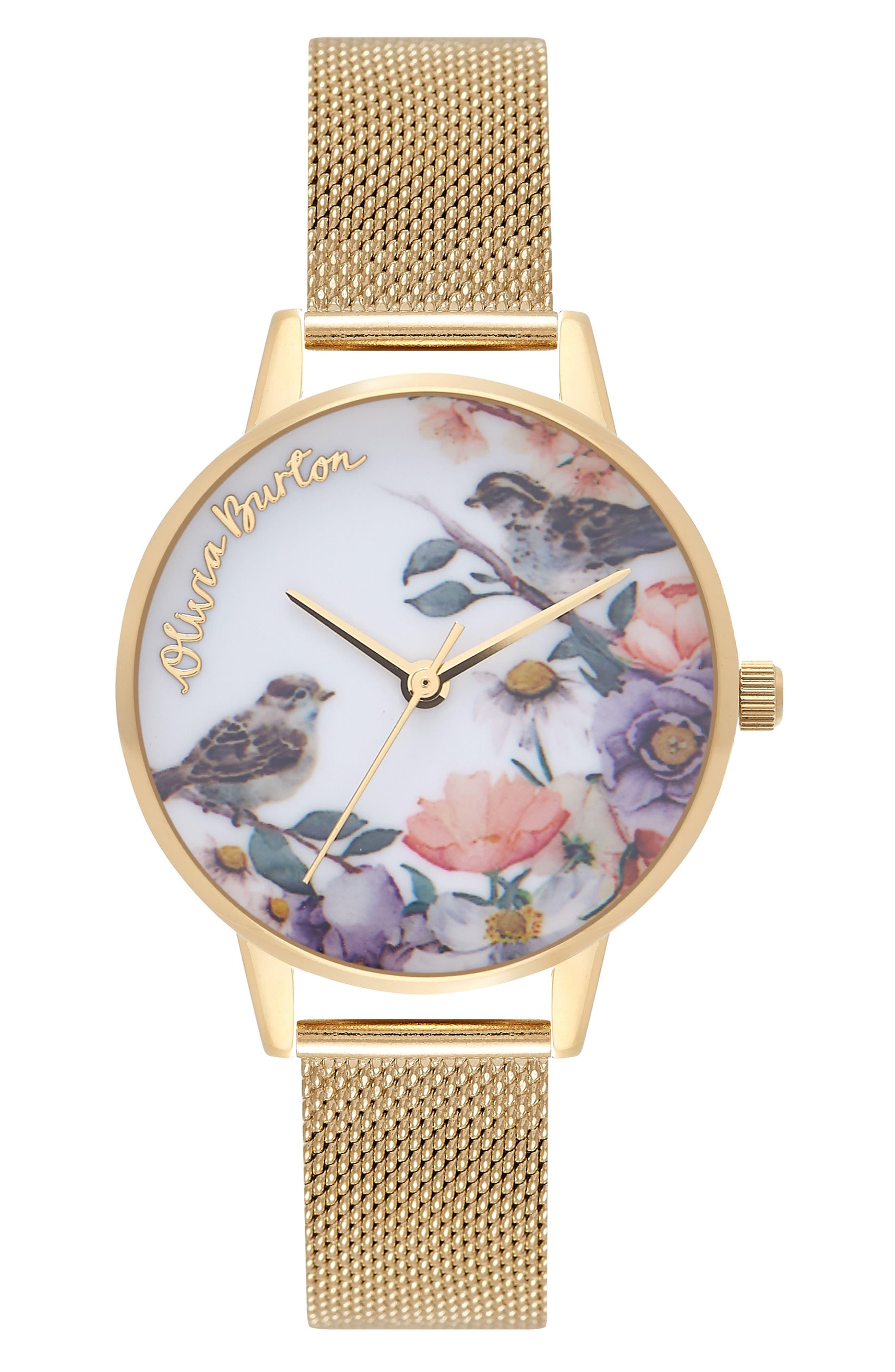 Olivia Burton English Garden Mesh Strap Watch, 30mm